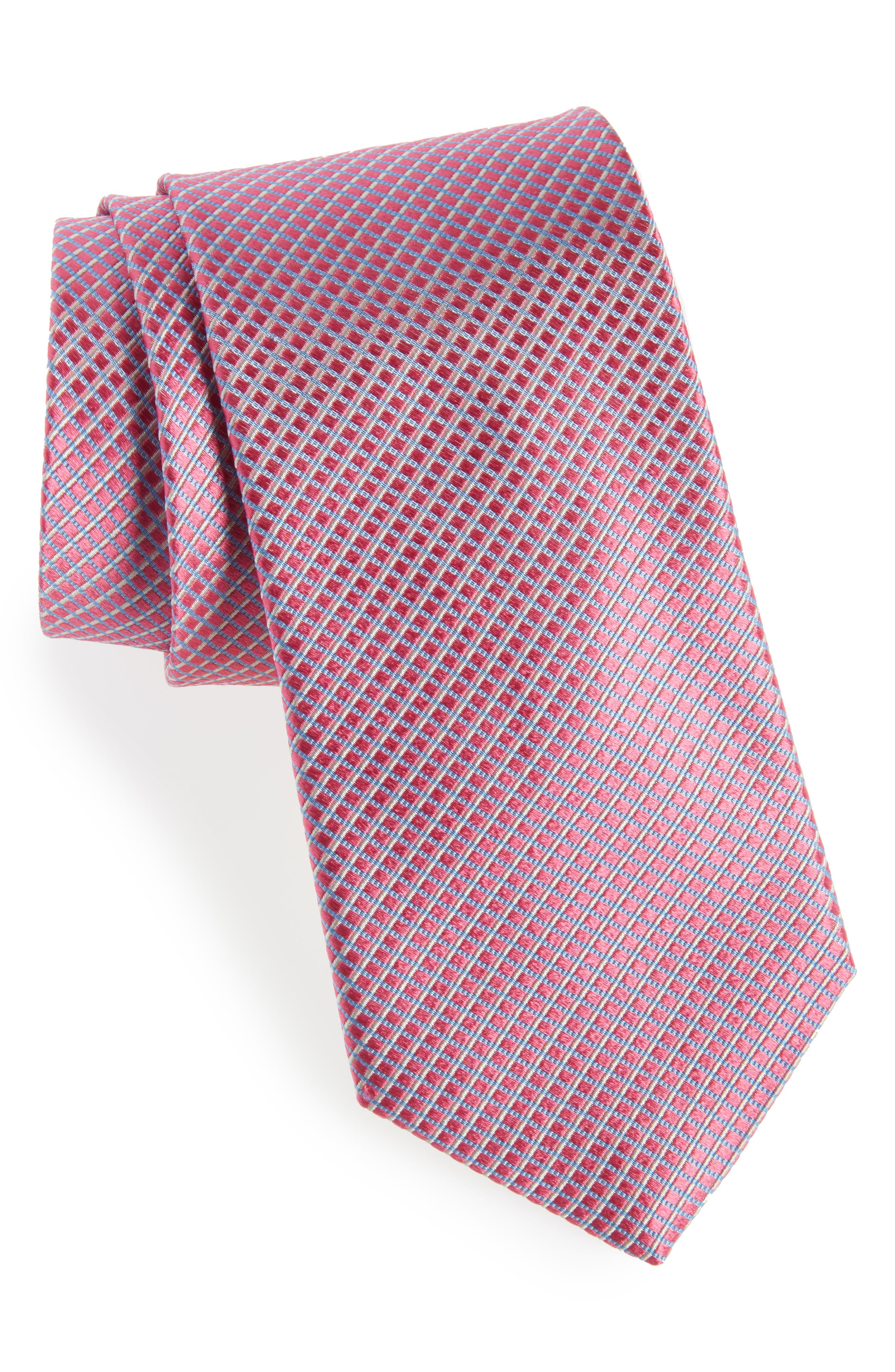 Bucaro Micro Pattern Silk Tie,                             Main thumbnail 1, color,                             PINK
