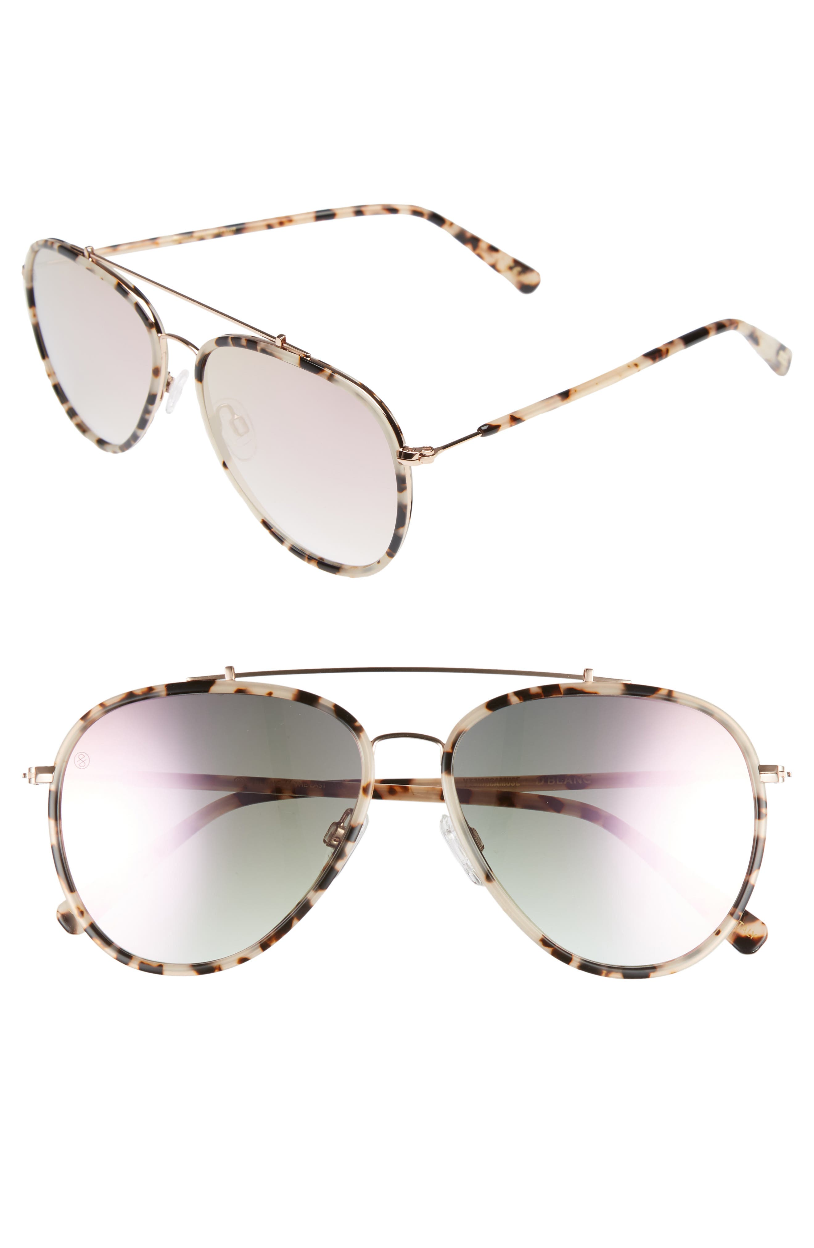 D'BLANC The Last 57mm Aviator Sunglasses,                         Main,                         color, 200
