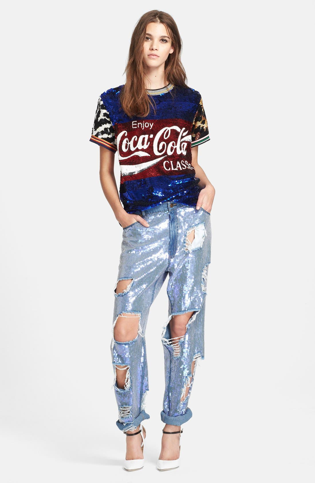 ASHISH,                             Destroyed Sequin Jeans,                             Alternate thumbnail 6, color,                             400