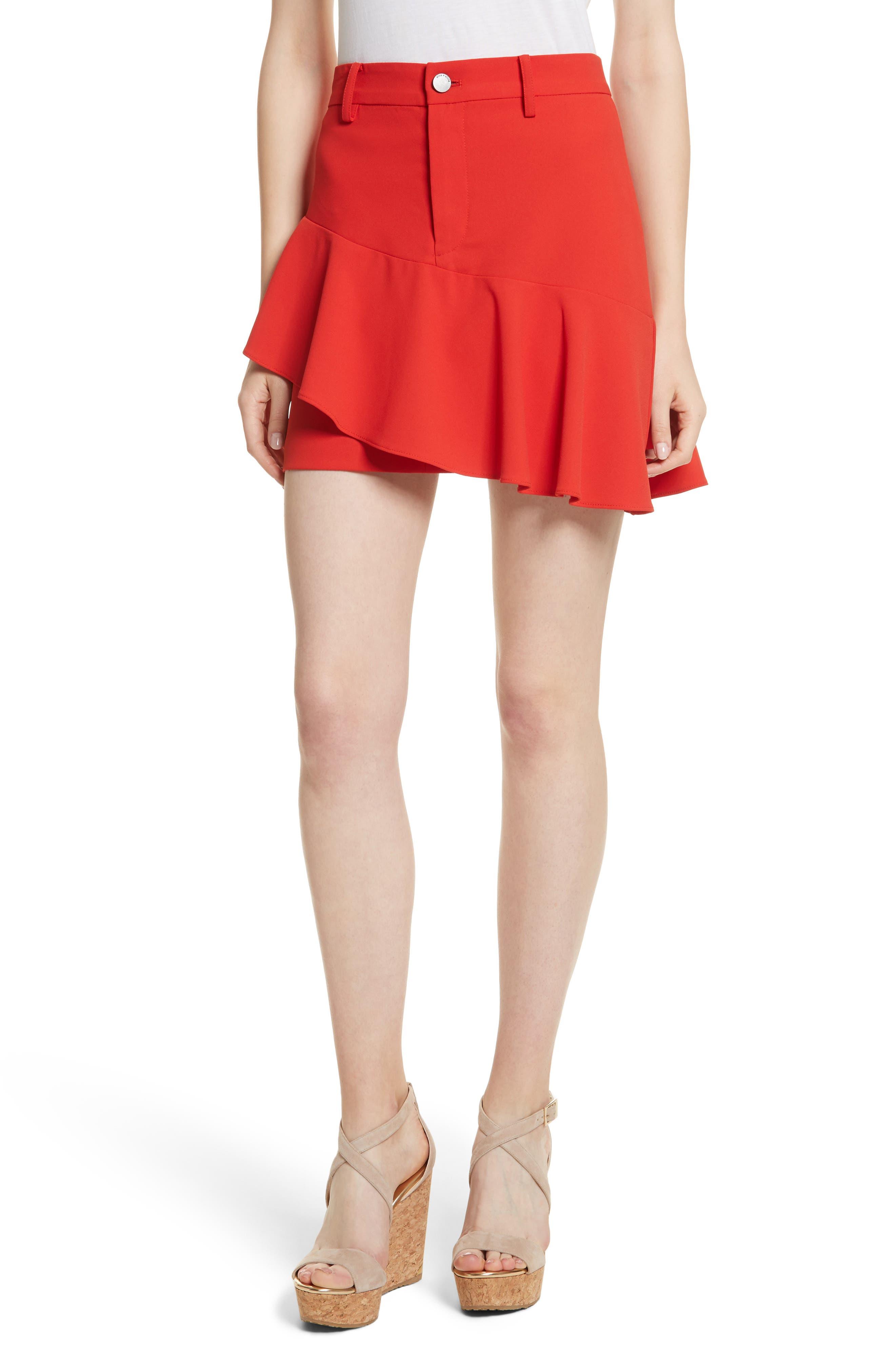 Nisa Ruffle Miniskirt,                         Main,                         color, 612