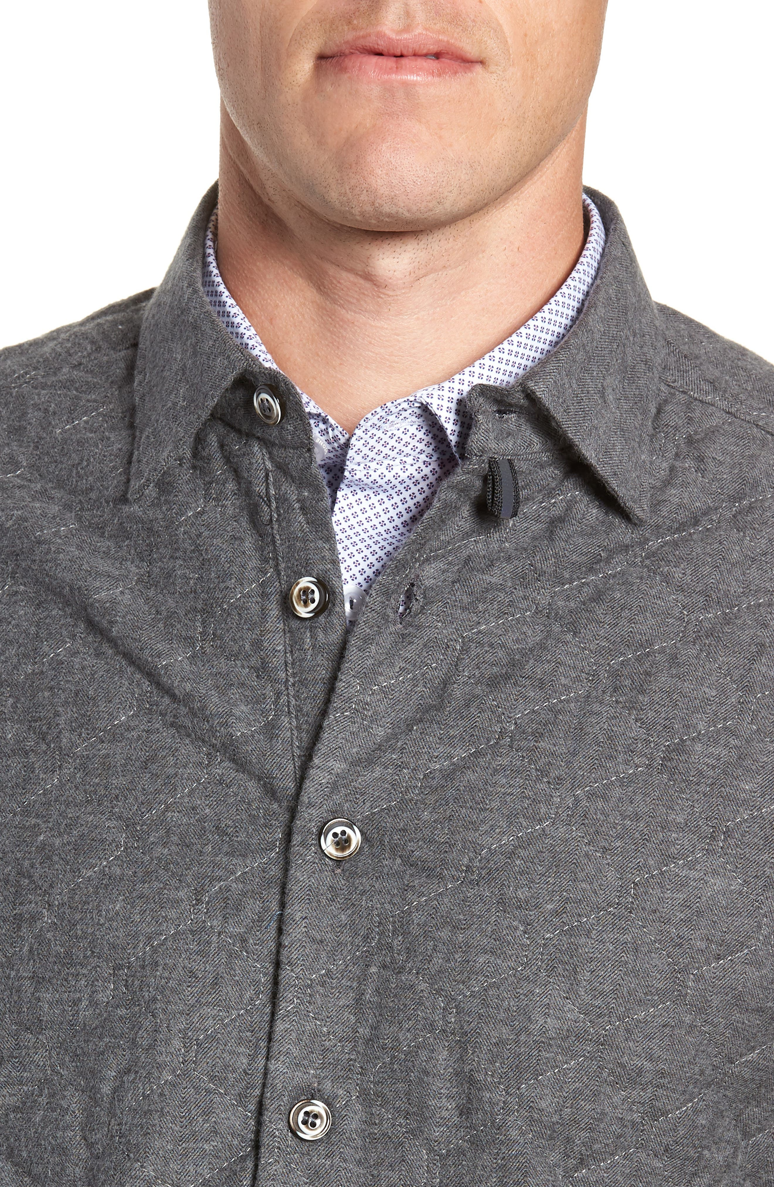 Trim Fit Quilted Shirt Jacket,                             Alternate thumbnail 2, color,                             CHARCOAL