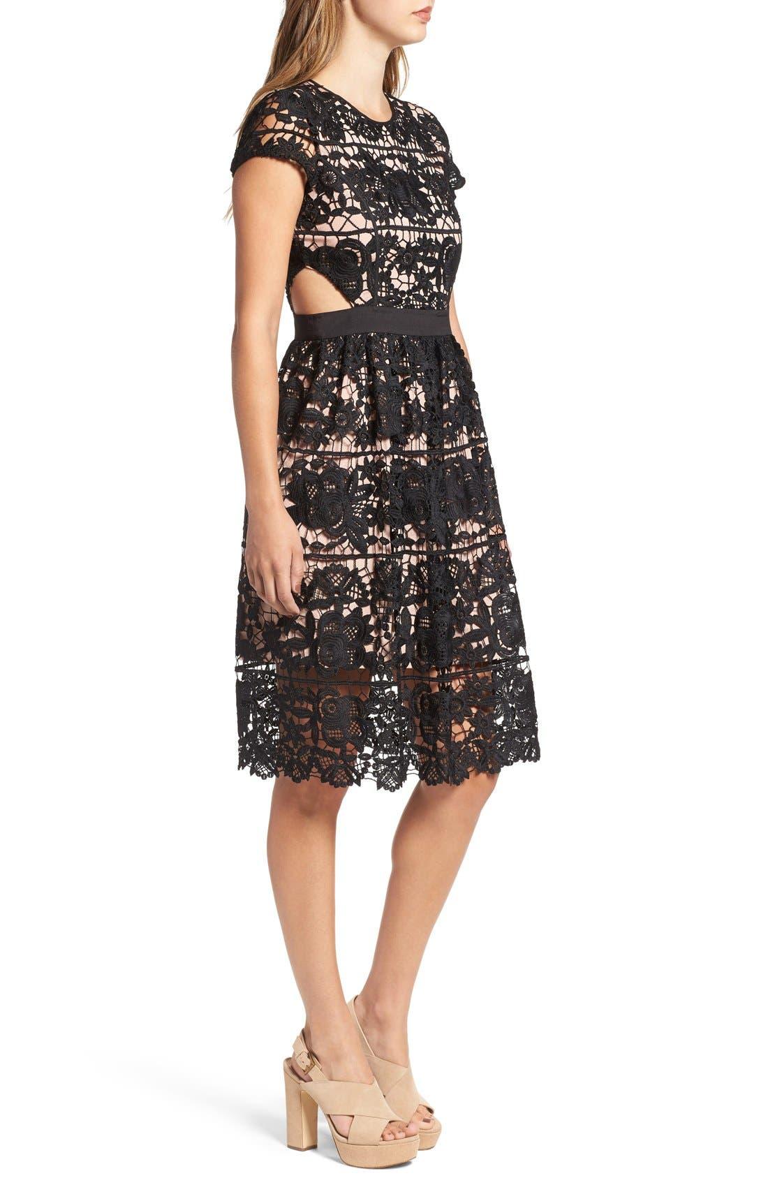'Rodan' Lace Fit & Flare Dress,                             Alternate thumbnail 5, color,                             001