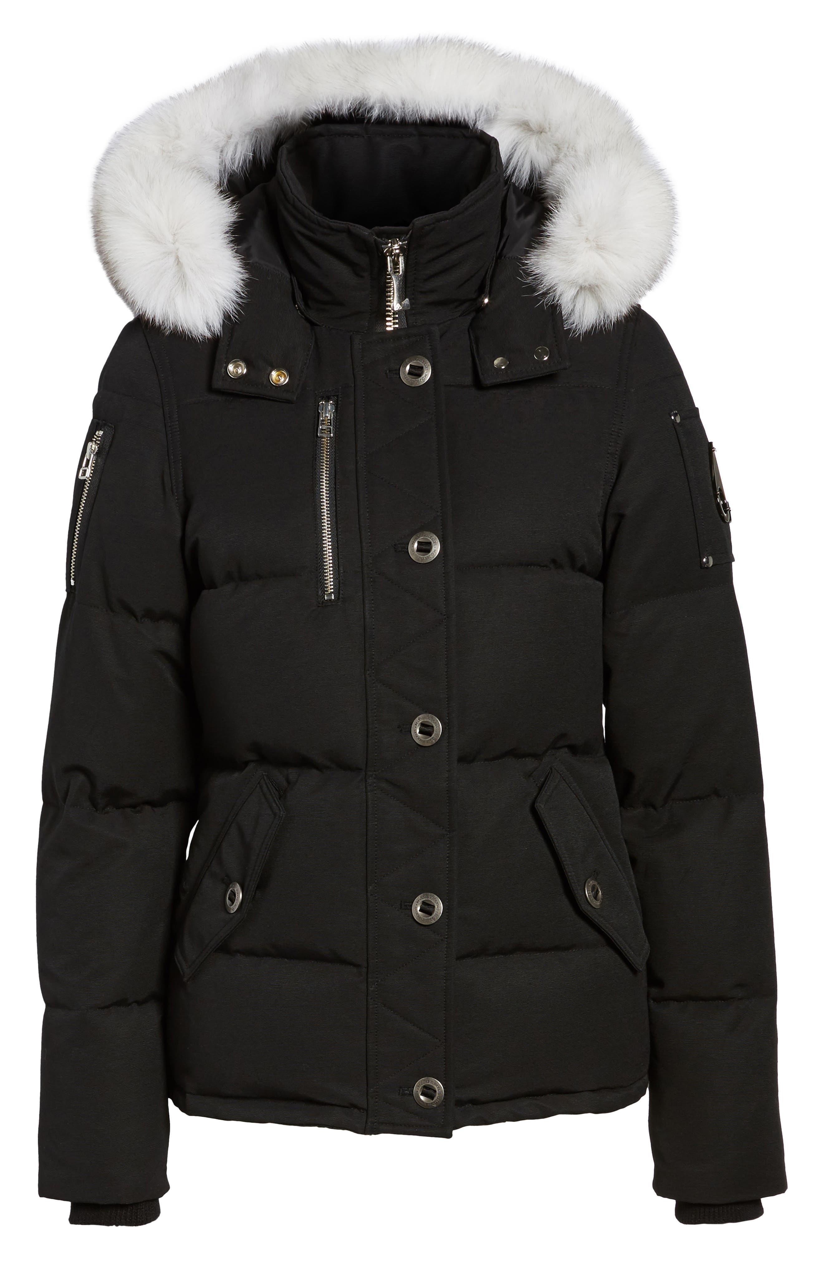Genuine Fox Fur Trim Hooded Down Coat,                             Alternate thumbnail 5, color,                             009