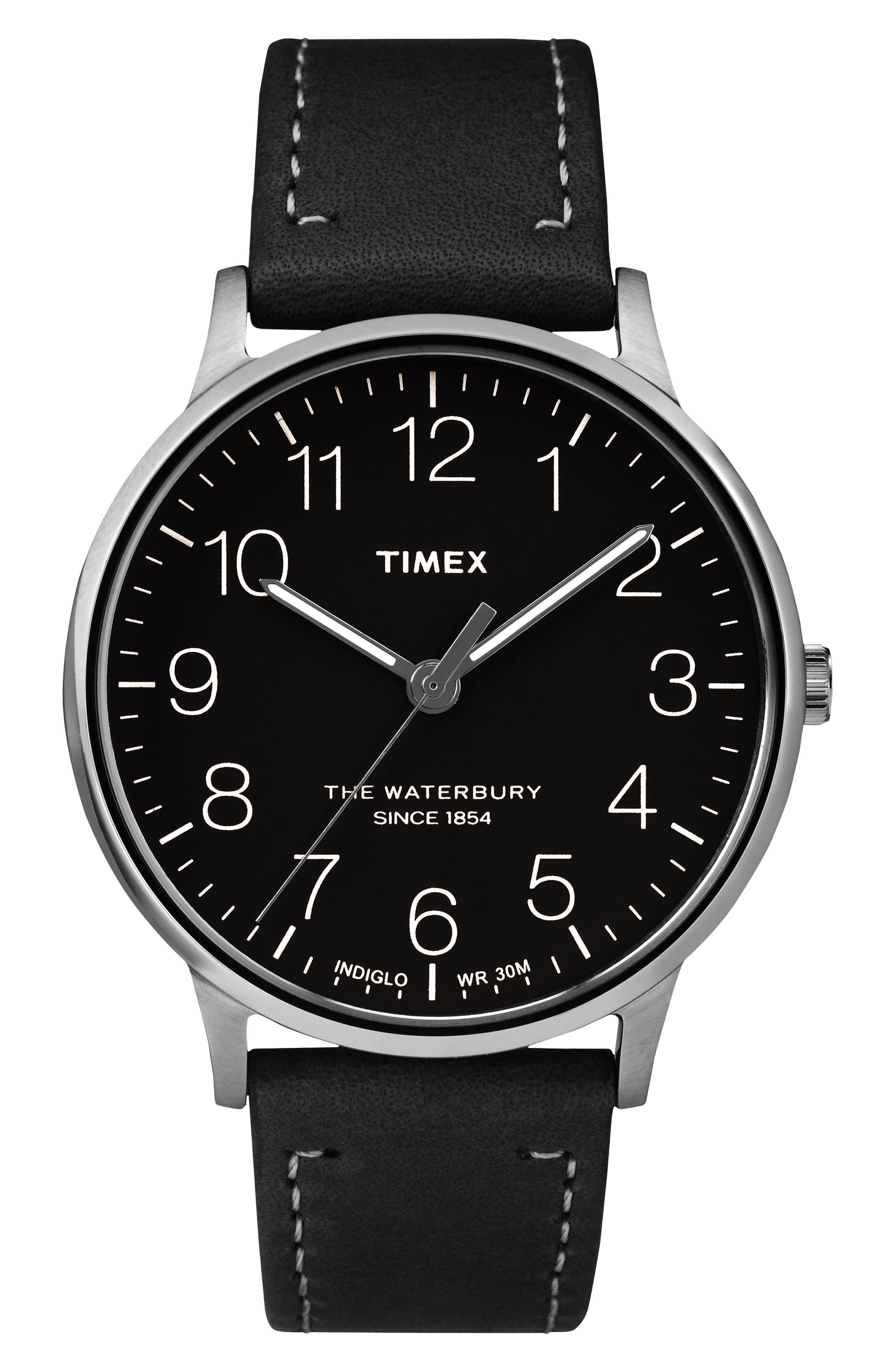 Waterbury Leather Strap Watch, 40mm,                             Main thumbnail 1, color,                             BLACK/ SILVER