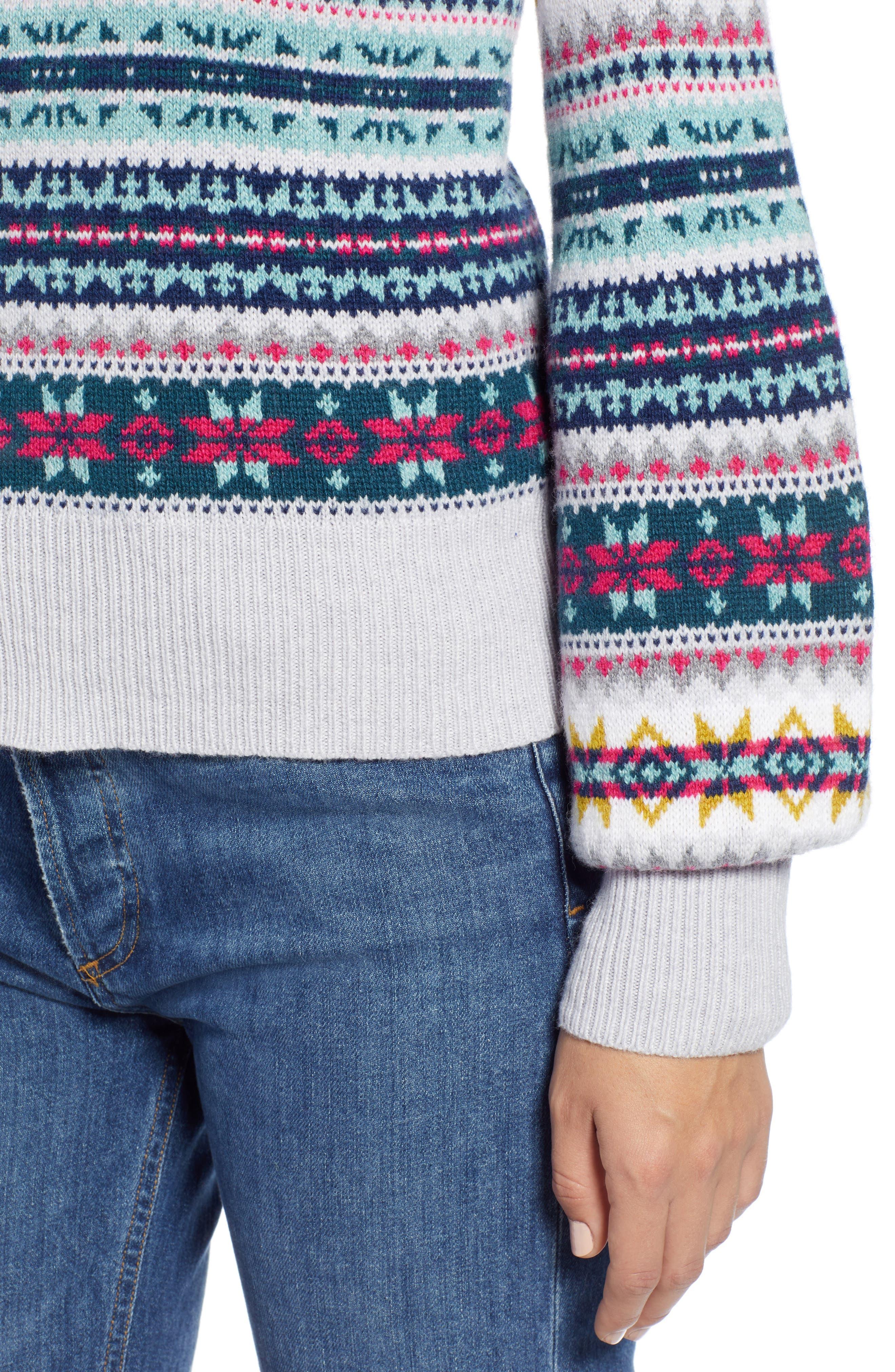 Fair Isle Cotton Wool Sweater,                             Alternate thumbnail 4, color,                             030