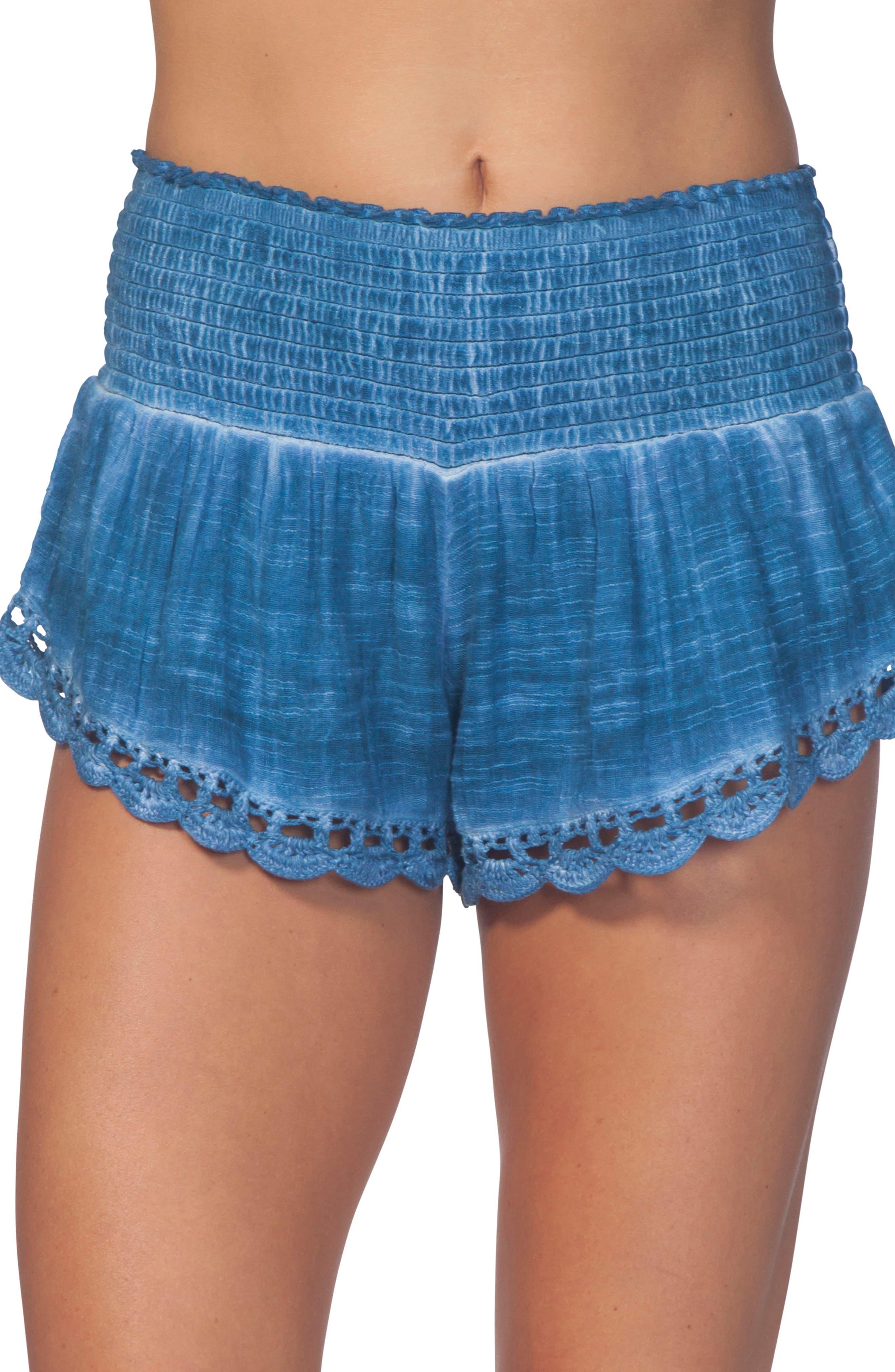 Dream Beam Cotton Beach Shorts,                             Main thumbnail 1, color,                             MID BLUE