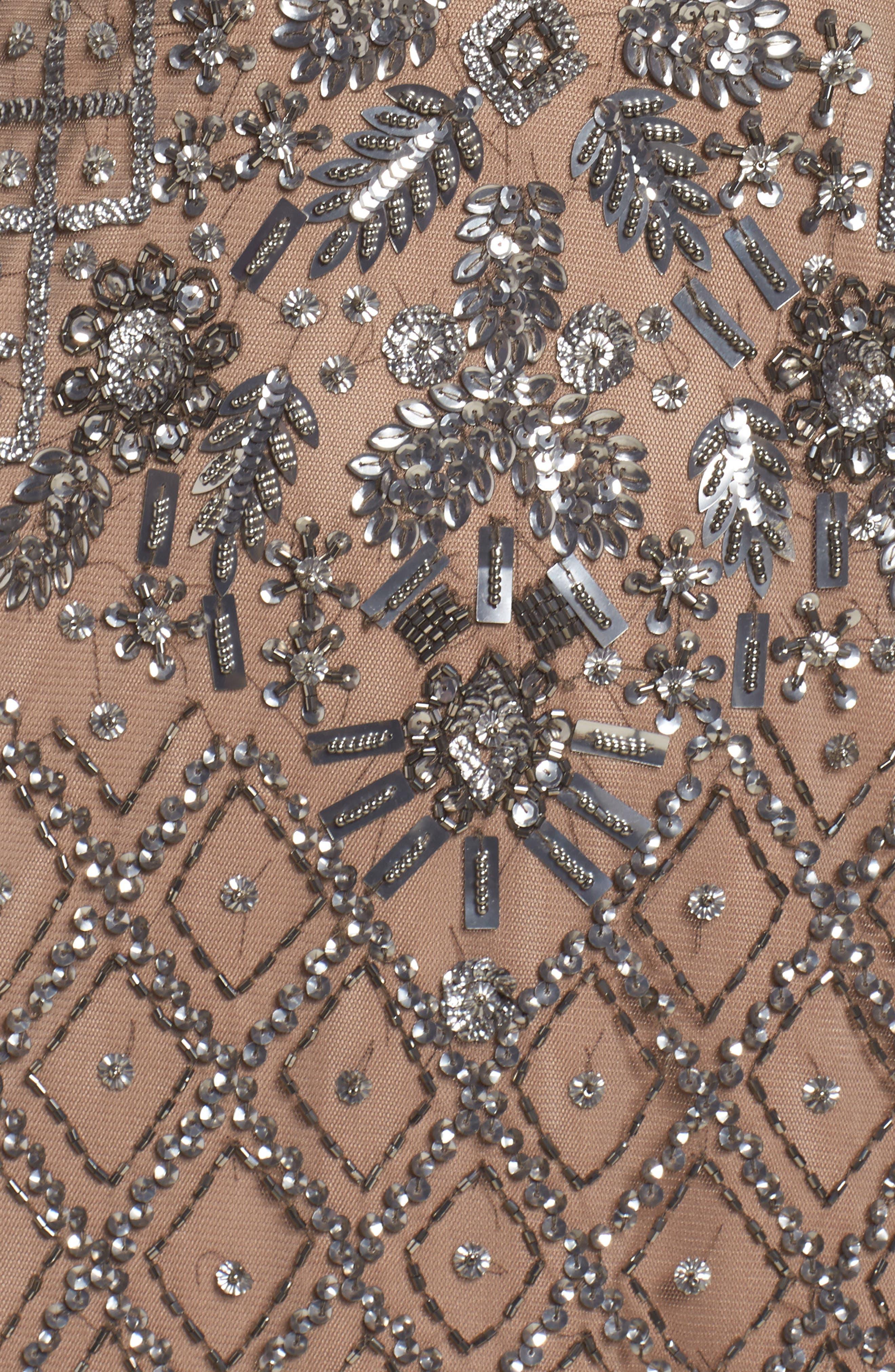 Beaded V-Neck Mesh Gown,                             Alternate thumbnail 5, color,