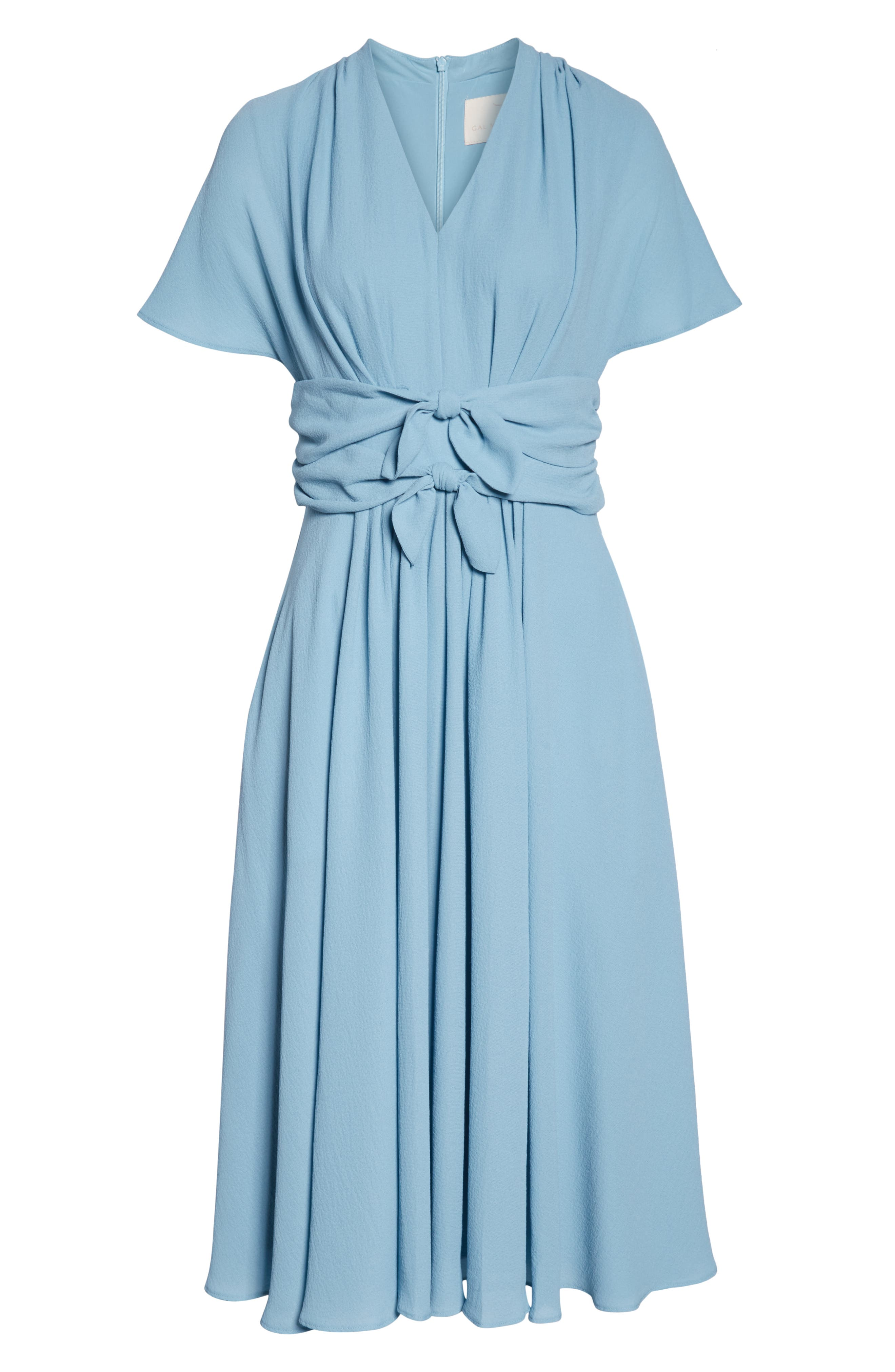 GAL MEETS GLAM COLLECTION,                             Jane Tie Waist Midi Dress,                             Alternate thumbnail 7, color,                             STEEL BLUE