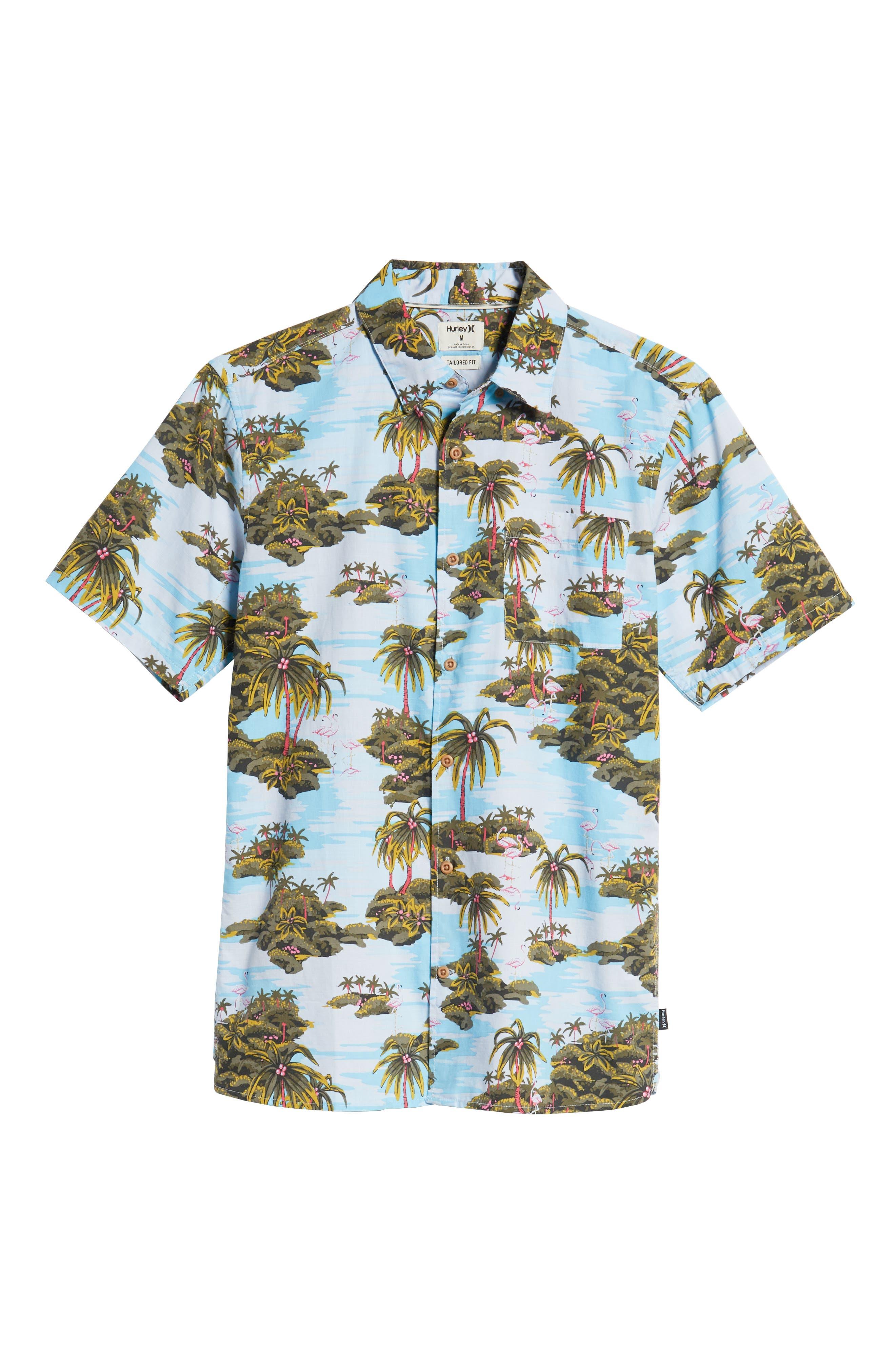 Garage Palm Tree Woven Shirt,                             Alternate thumbnail 5, color,                             OCEAN BLISS