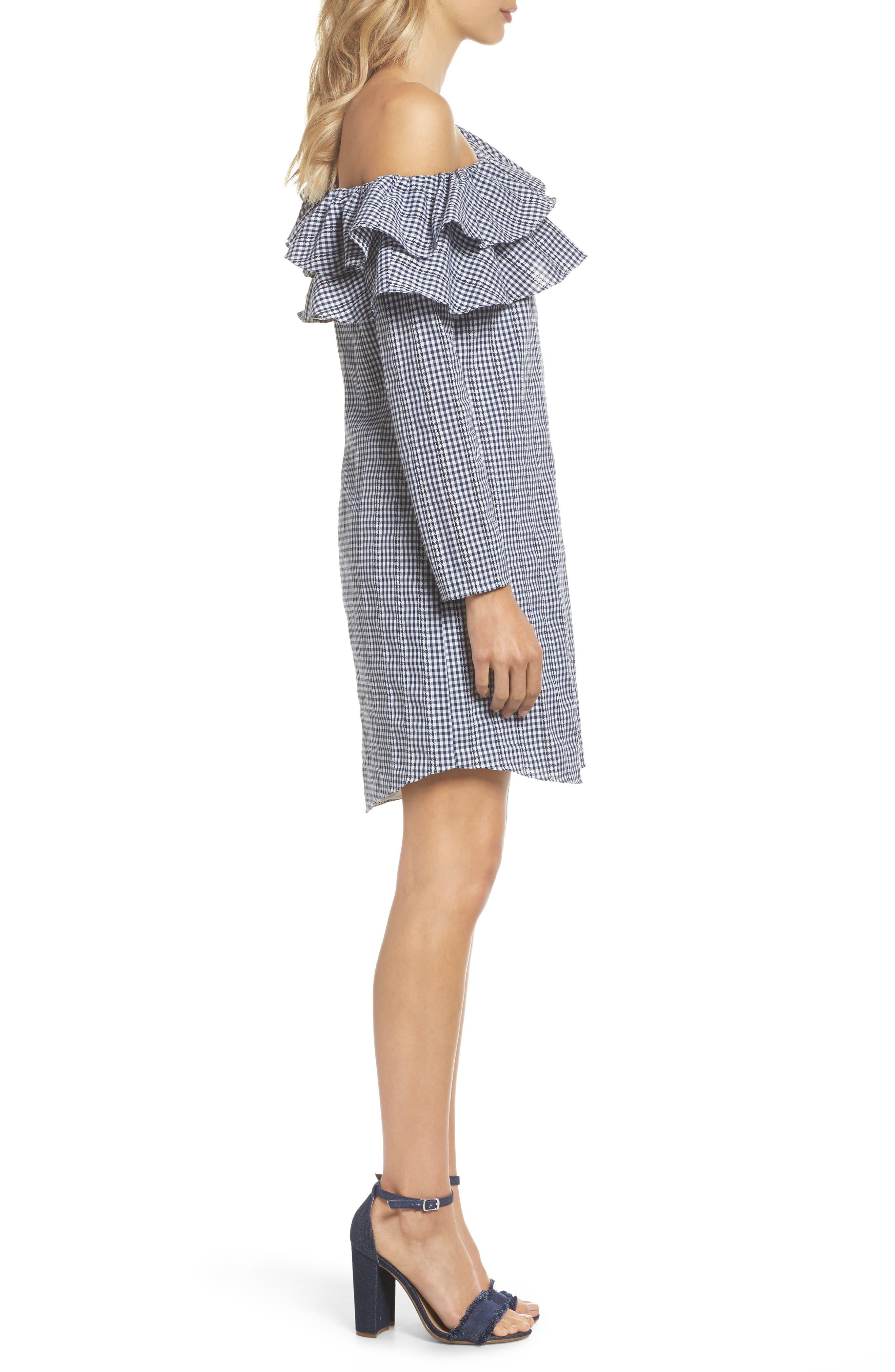 ADELYN RAE,                             Gingham One-Shoulder Ruffle Dress,                             Alternate thumbnail 3, color,                             410