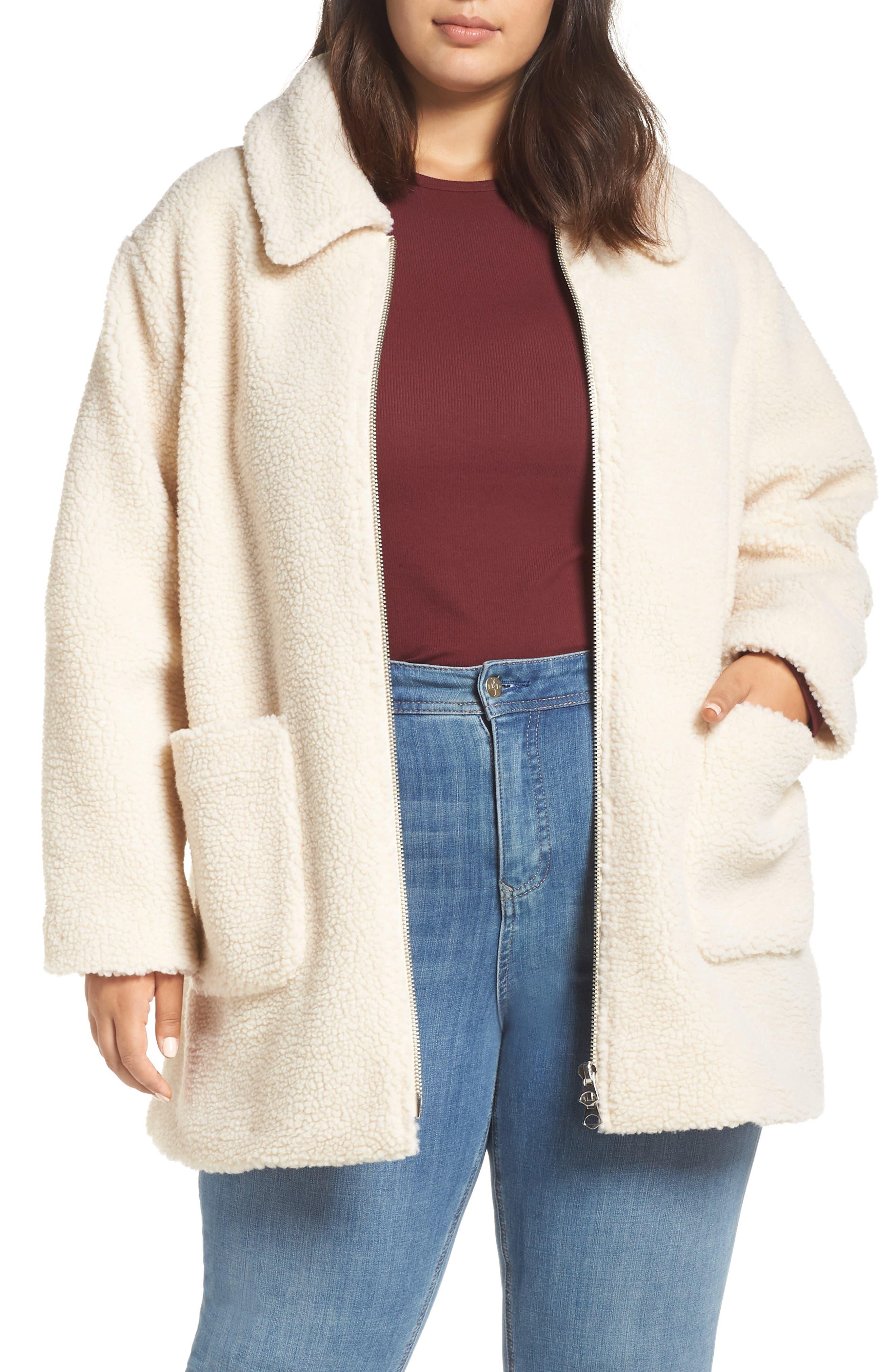 Zip Front Teddy Coat,                         Main,                         color, IVORY