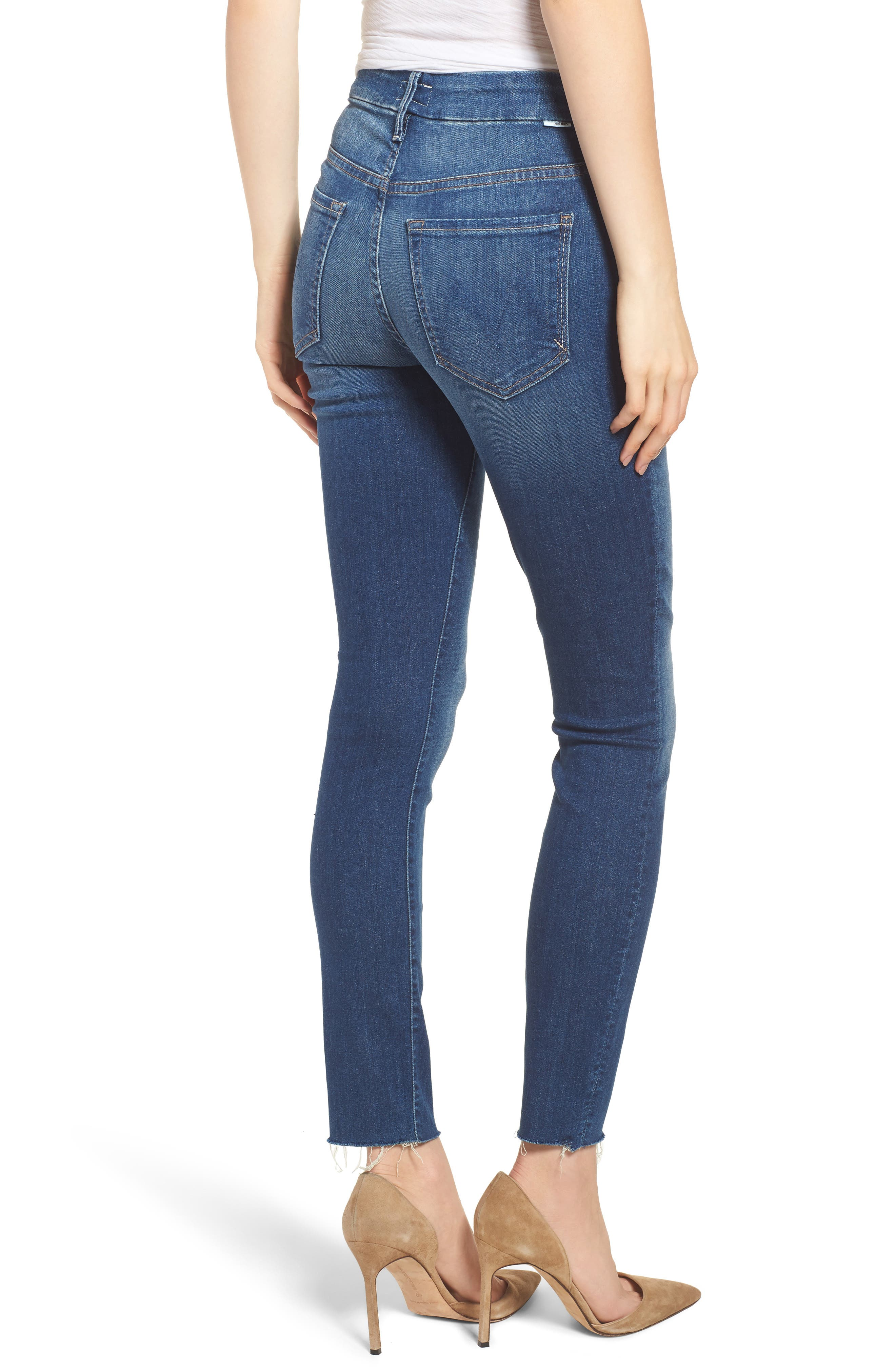 The Looker Frayed High Waist Ankle Skinny Jeans,                             Alternate thumbnail 2, color,
