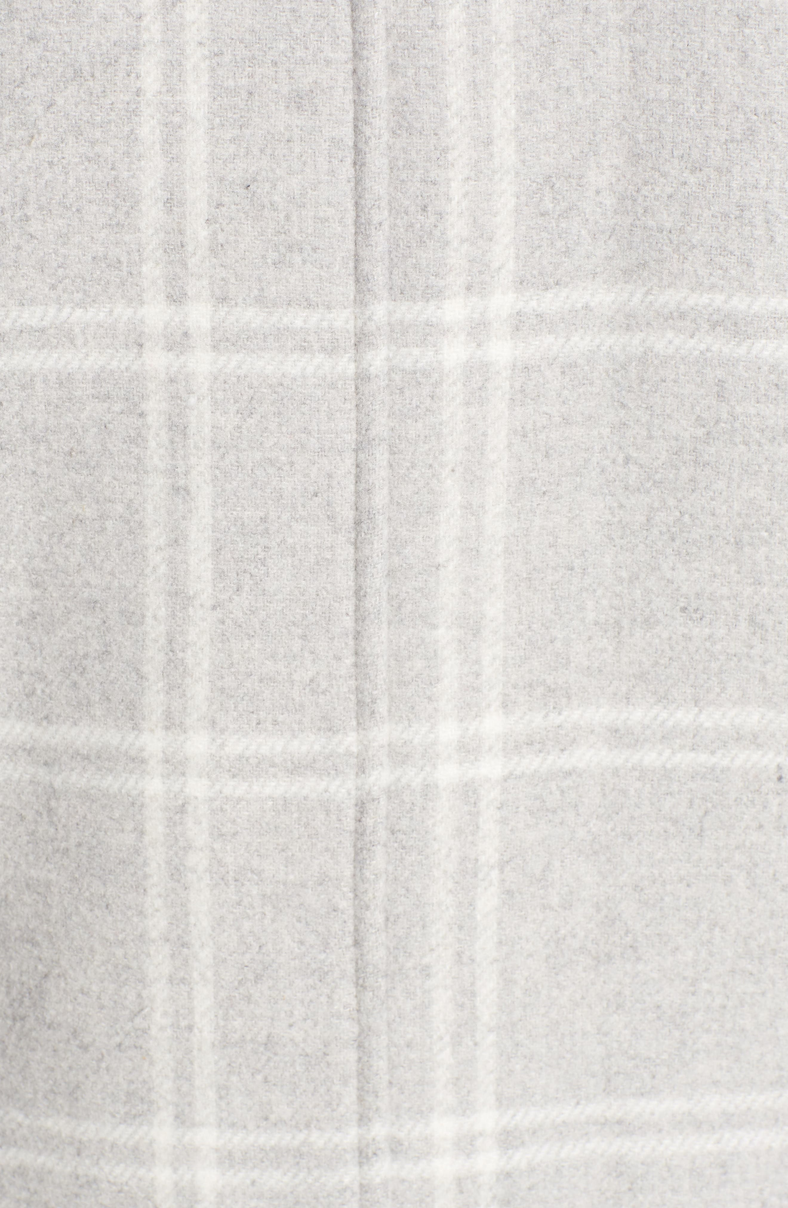 Wool Top Coat,                             Alternate thumbnail 7, color,                             GREY PLAID WOOL