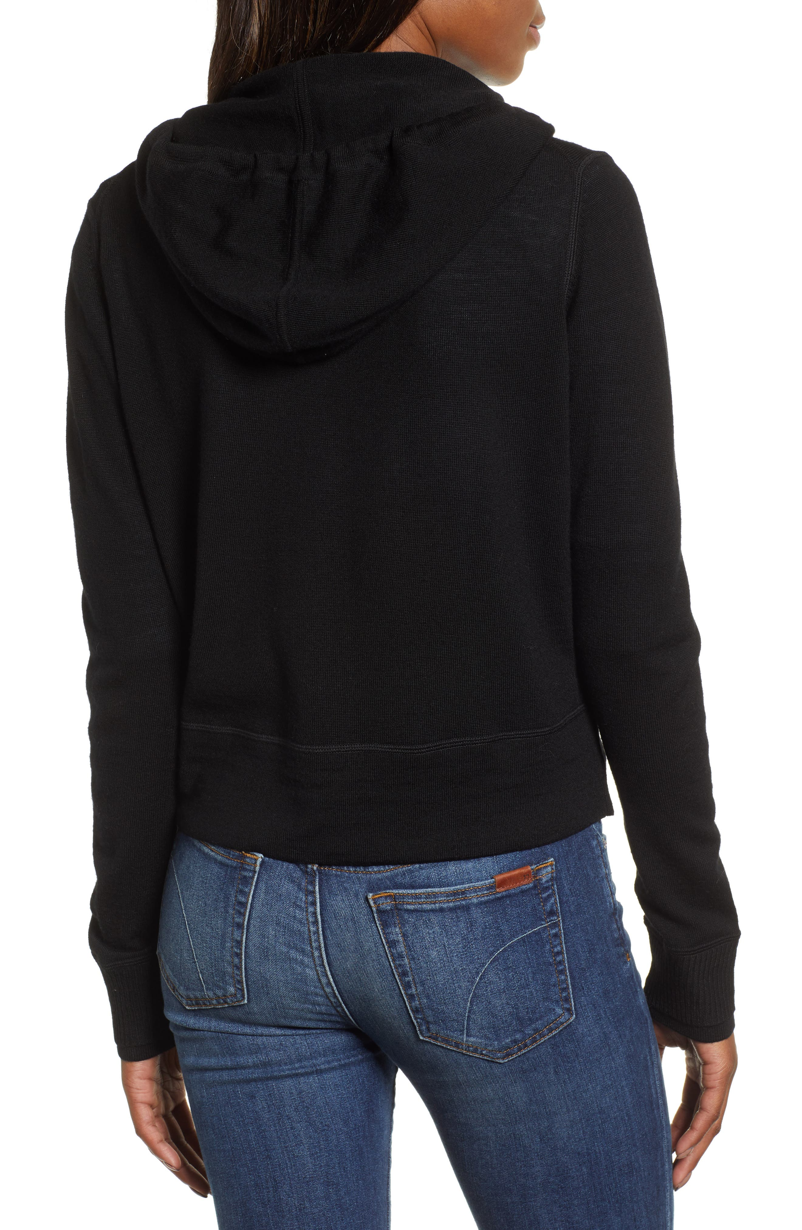 Full Zip Hoodie Wool Sweater,                             Alternate thumbnail 2, color,                             JET BLACK