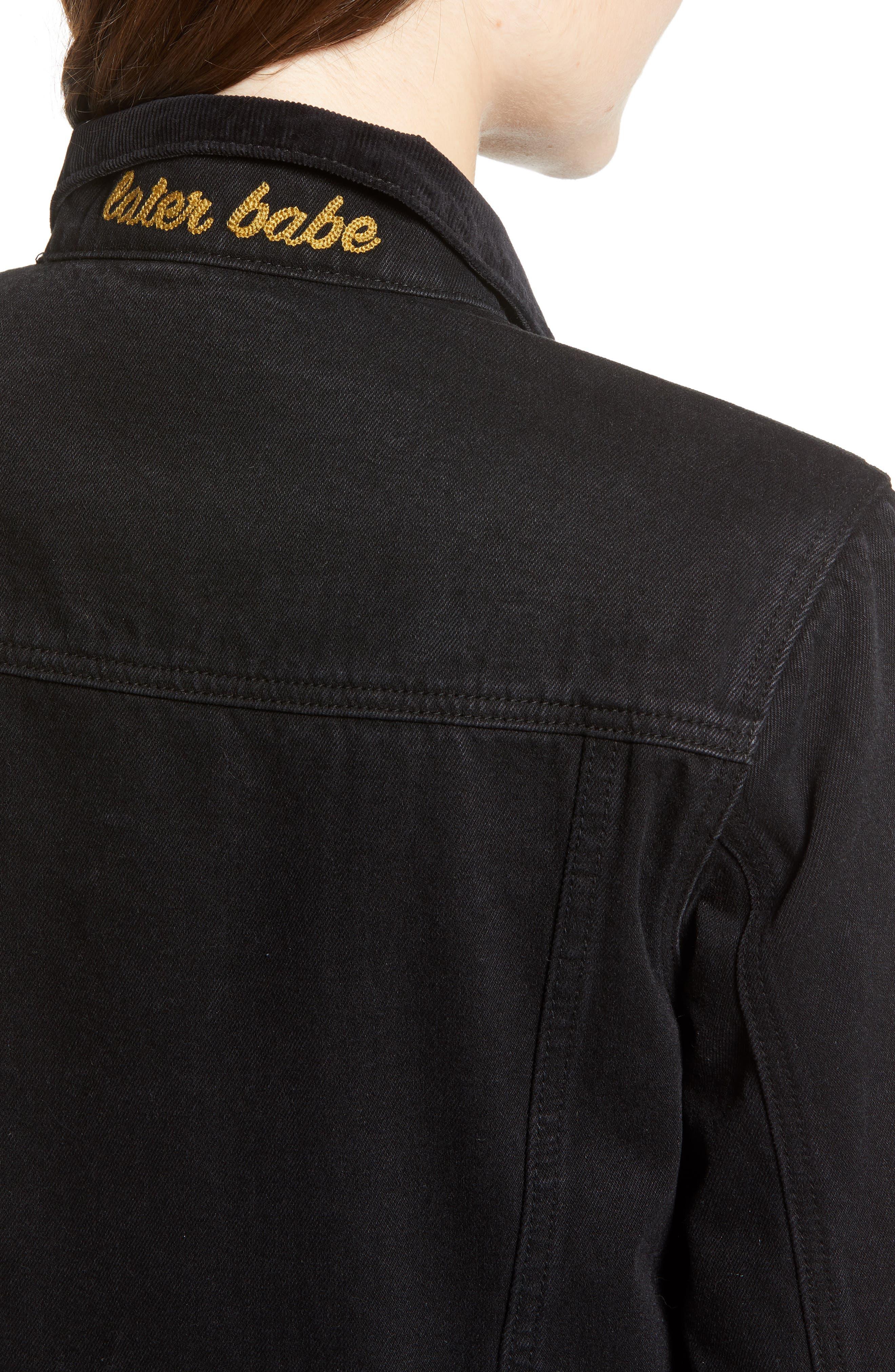 Polara Denim Jacket,                             Alternate thumbnail 4, color,                             WASHED BLACK