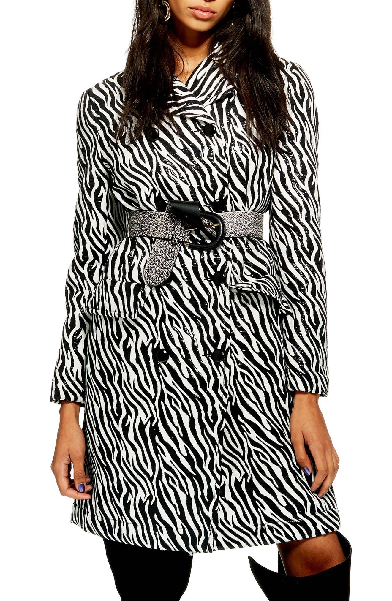 Zebra Print Coat,                             Main thumbnail 1, color,                             BLACK MULTI