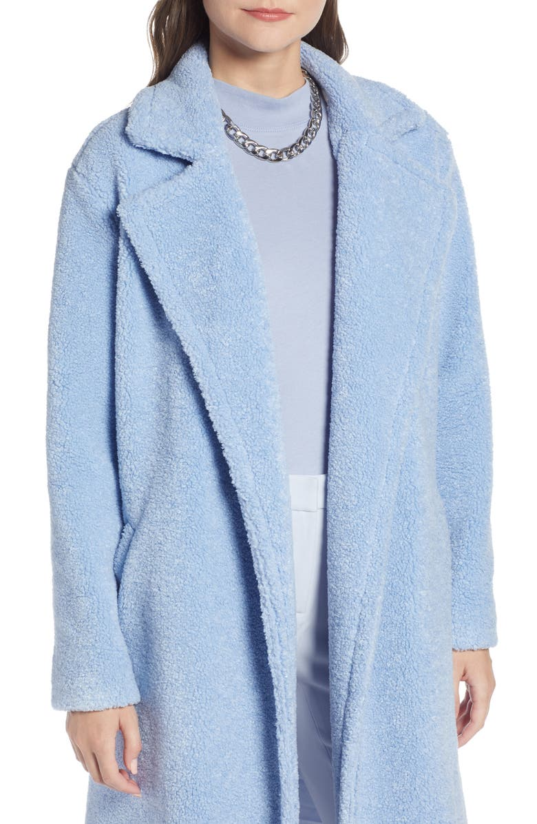 Teddy Faux Fur Coat,                         Alternate,                         color, BLUE BRUNNERA