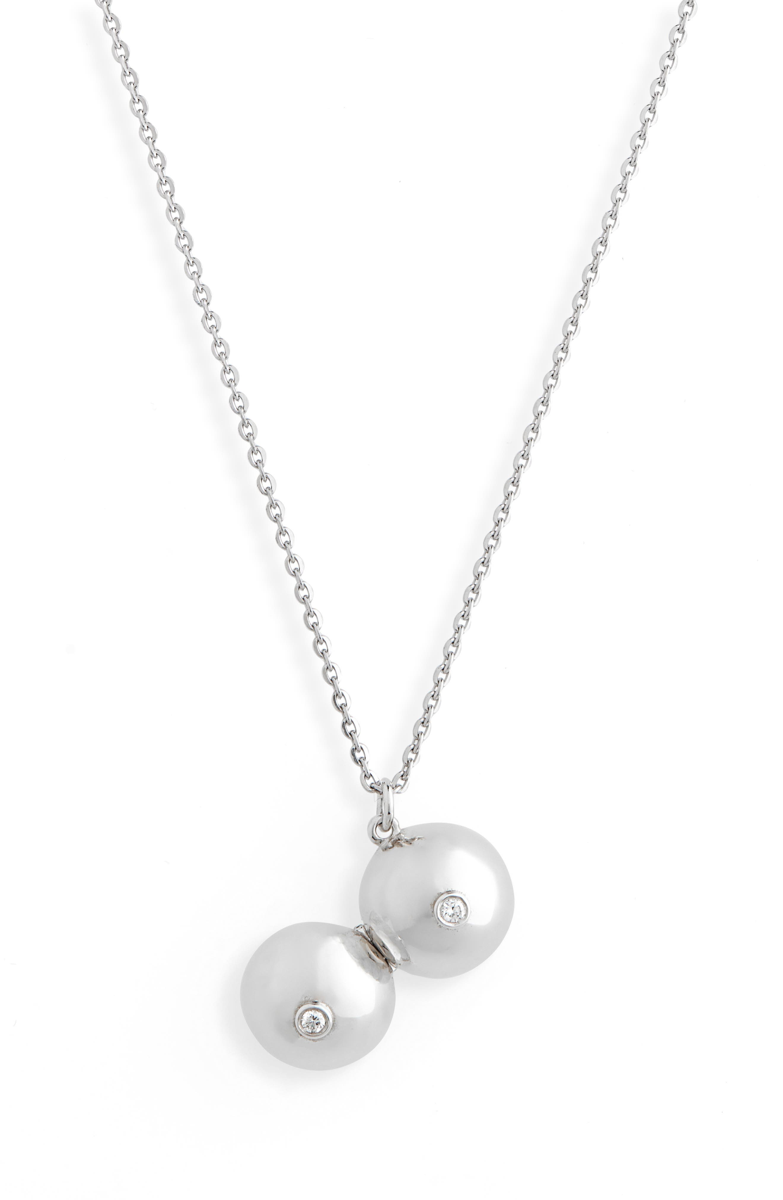 Boob Diamond Locket Necklace,                             Alternate thumbnail 2, color,                             SILVER