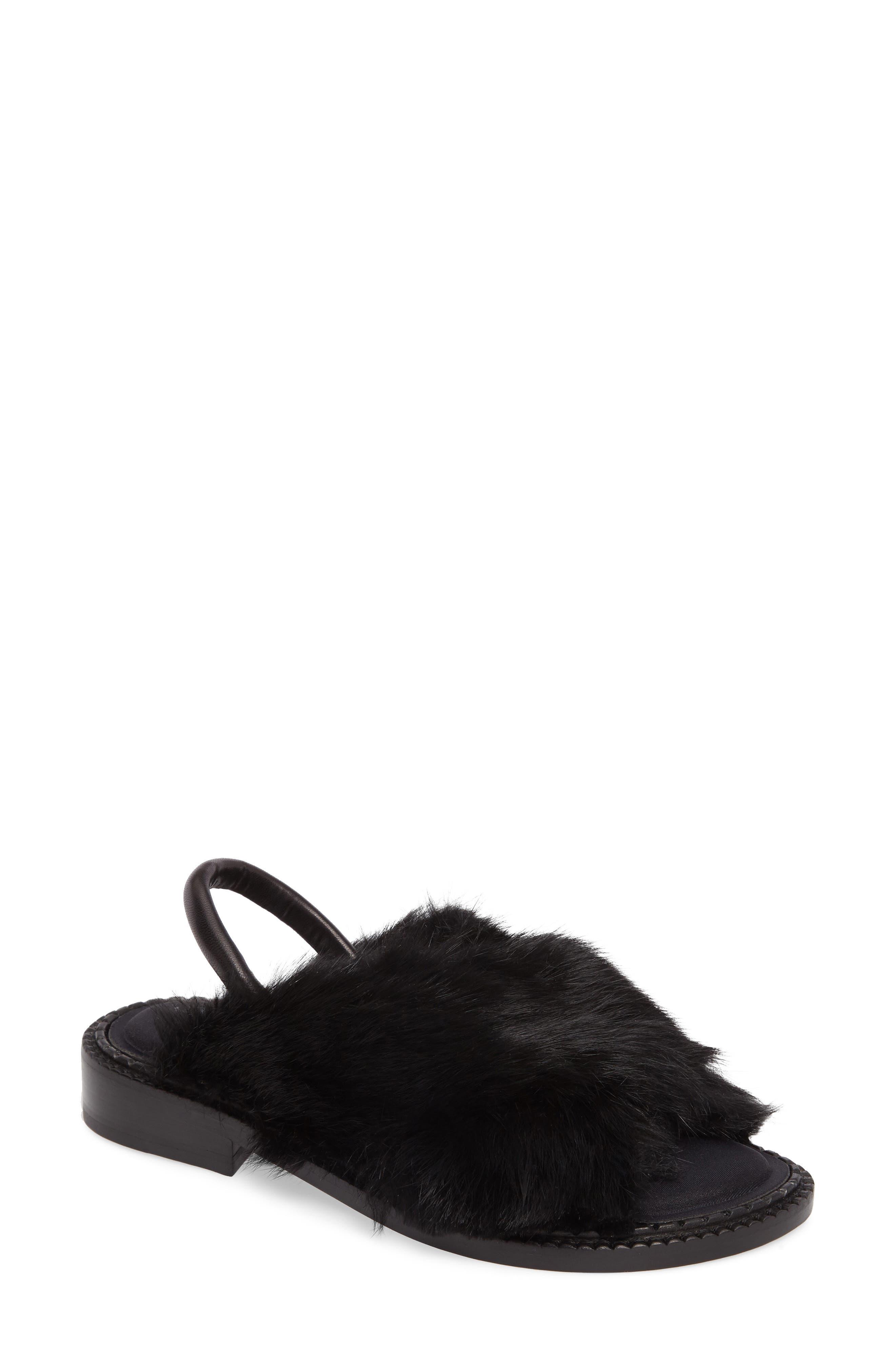 Bloss Genuine Fur Sandal,                             Main thumbnail 1, color,                             004