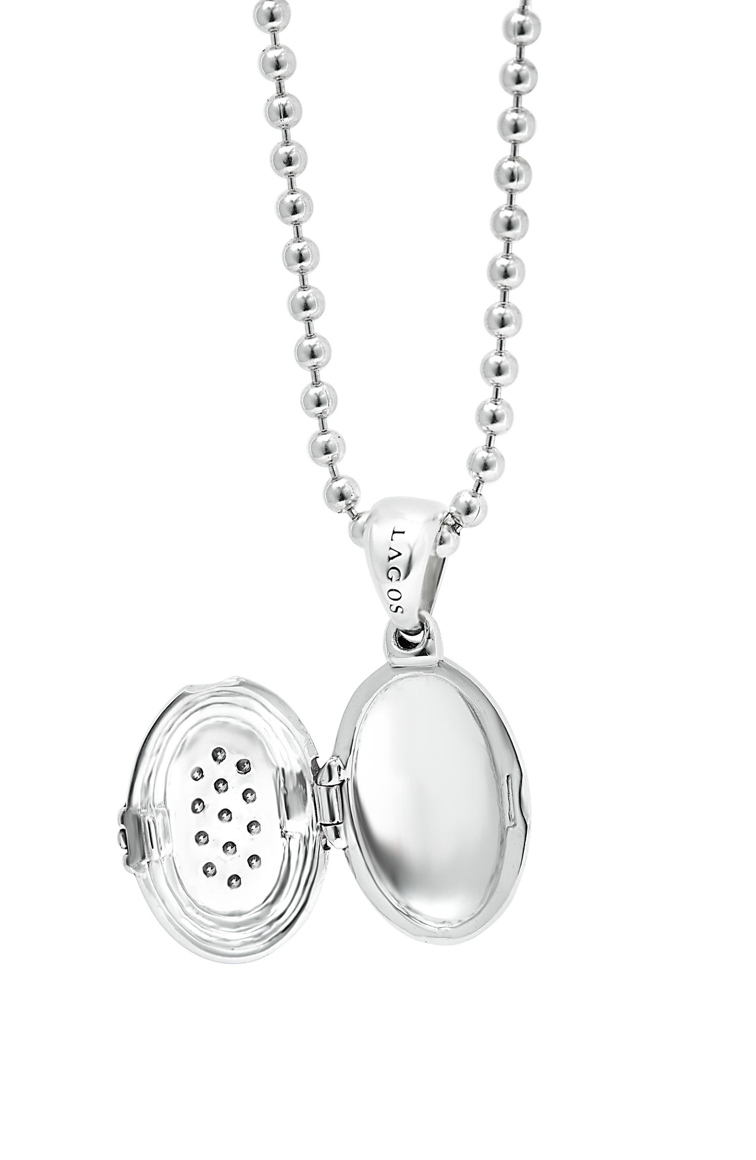 LAGOS,                             Beloved Diamond Oval Locket Necklace,                             Alternate thumbnail 4, color,                             SILVER