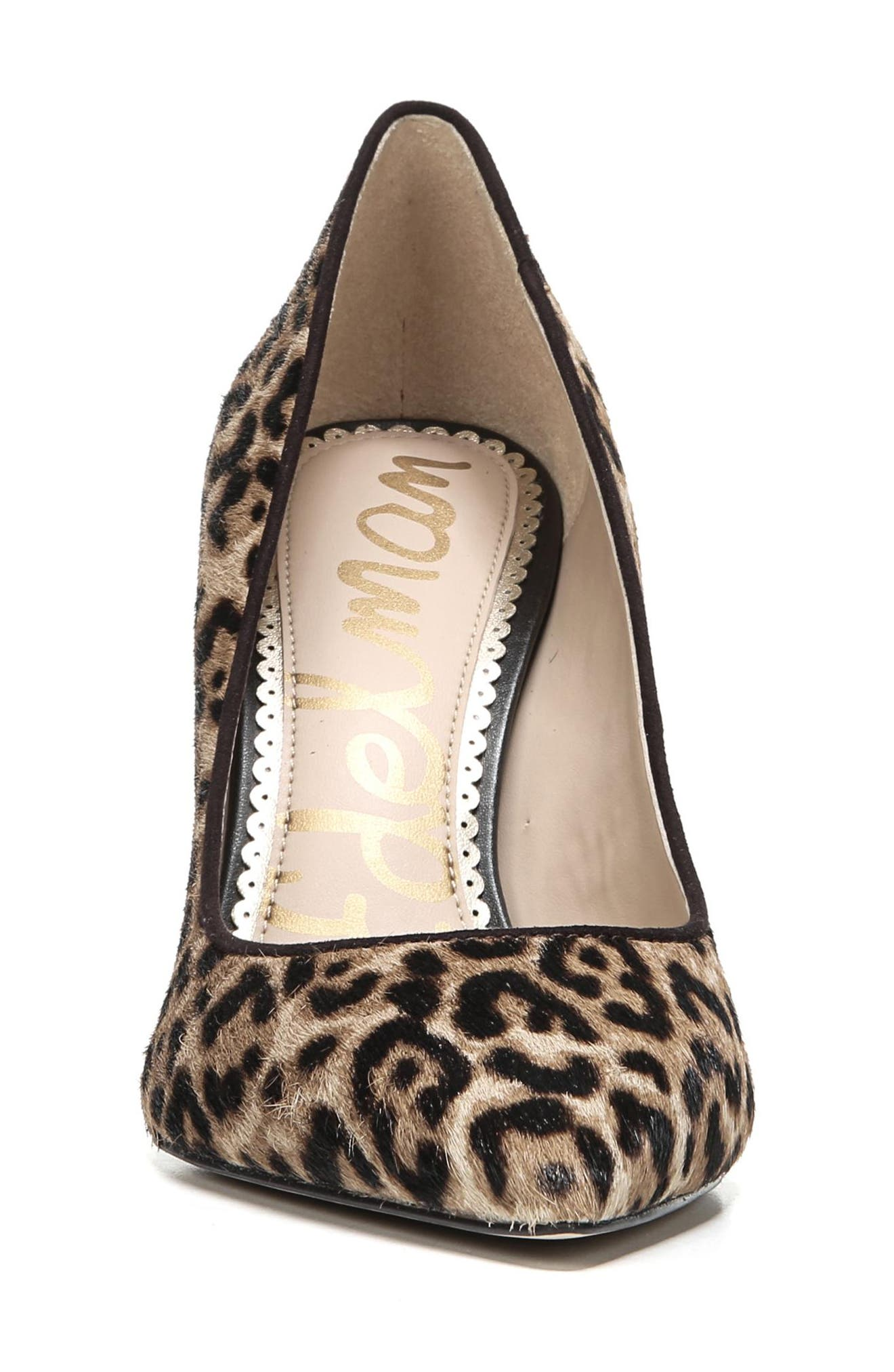 Hazel Pointy Toe Pump,                             Alternate thumbnail 4, color,                             LEOPARD CALF HAIR
