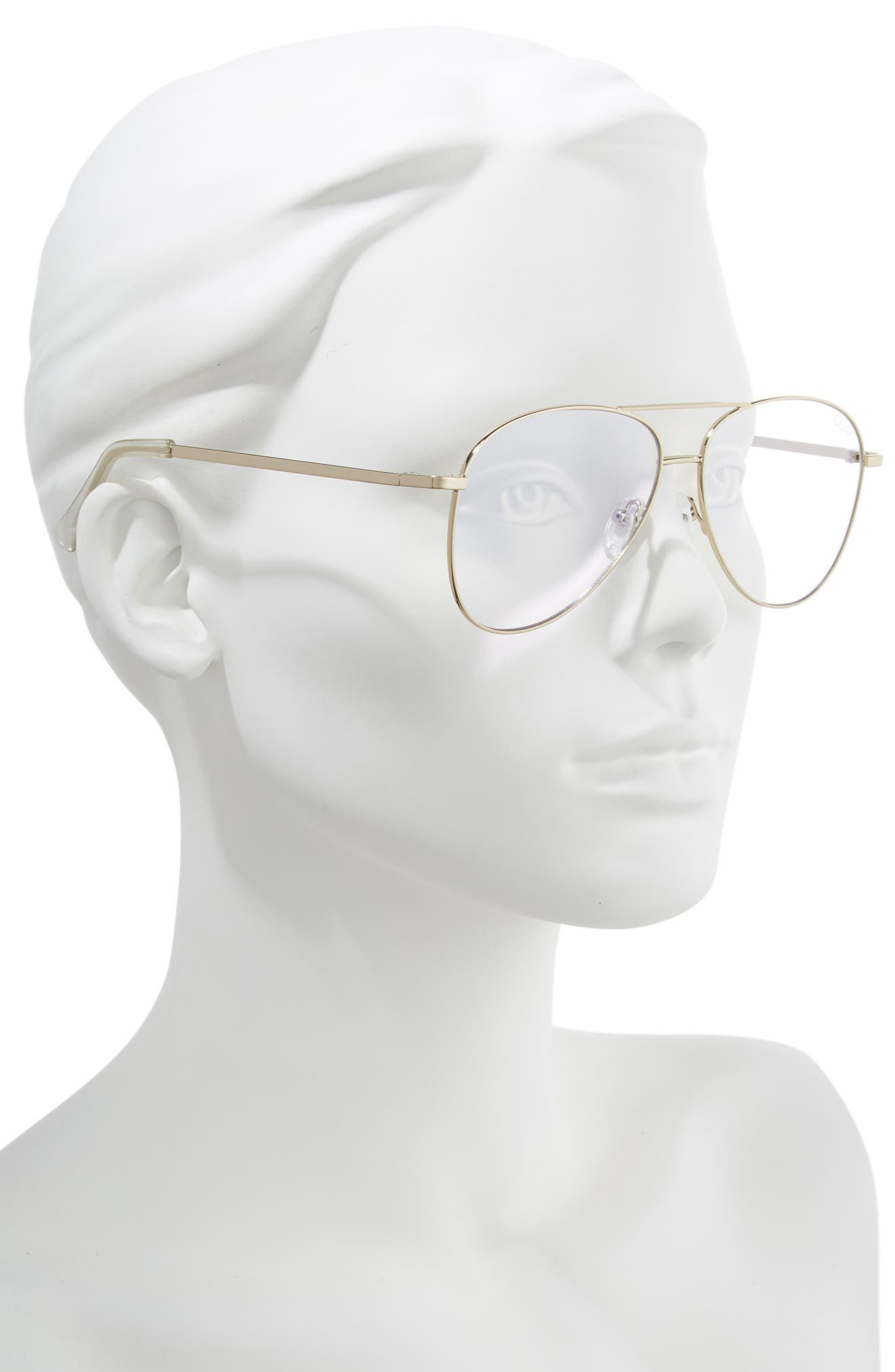 Still Standing 58mm Aviator Fashion Glasses,                             Alternate thumbnail 2, color,                             GOLD / CLEAR BLUE LIGHT