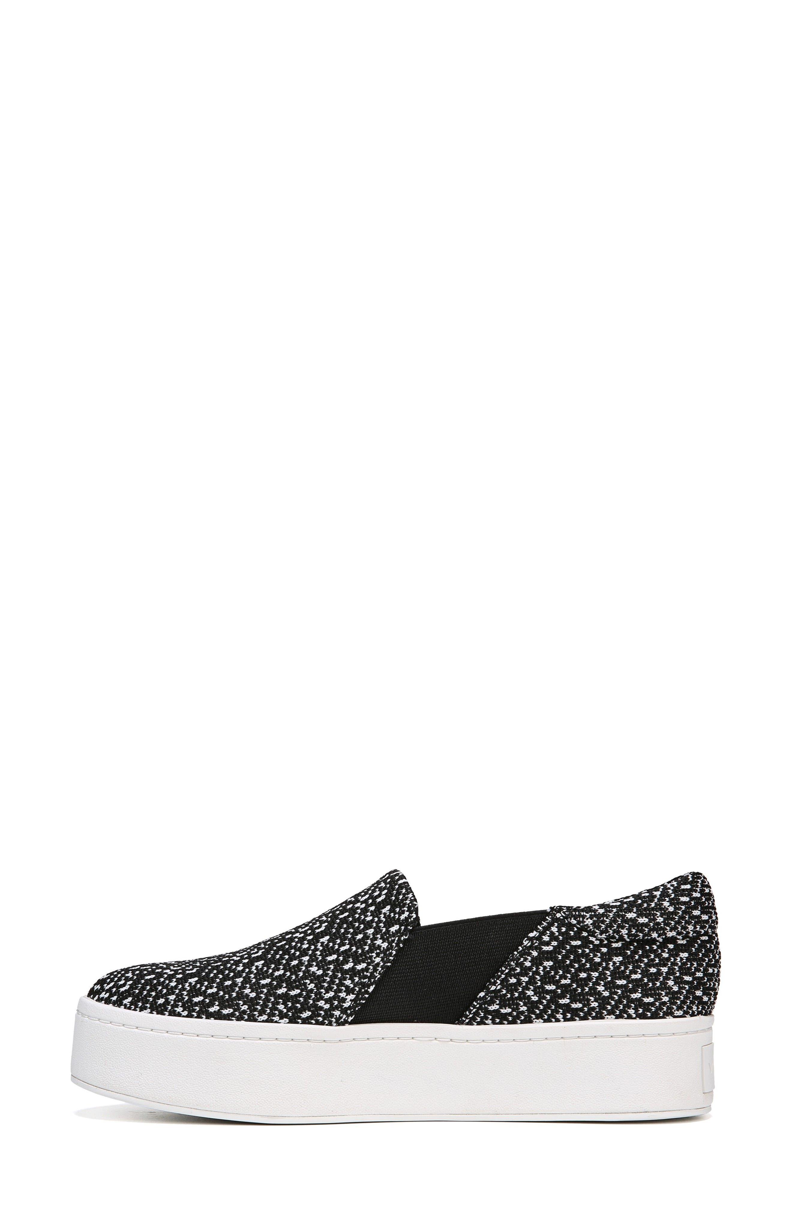 Warren Slip-On Sneaker,                             Alternate thumbnail 7, color,                             BLACK/ WHITE