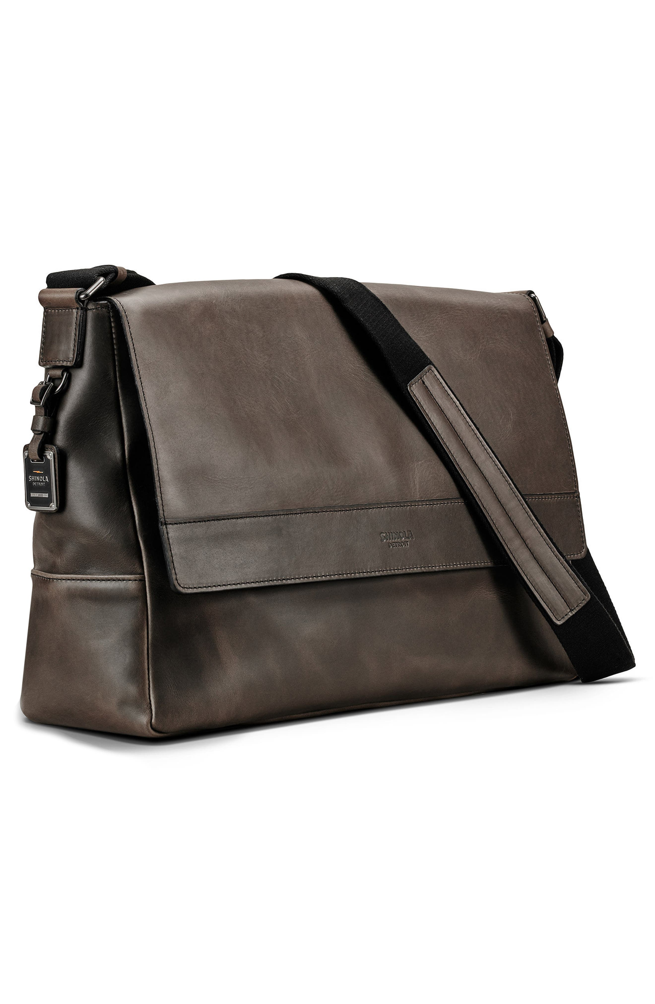 Leather E/W Messenger Bag,                             Alternate thumbnail 4, color,                             CHARCOAL