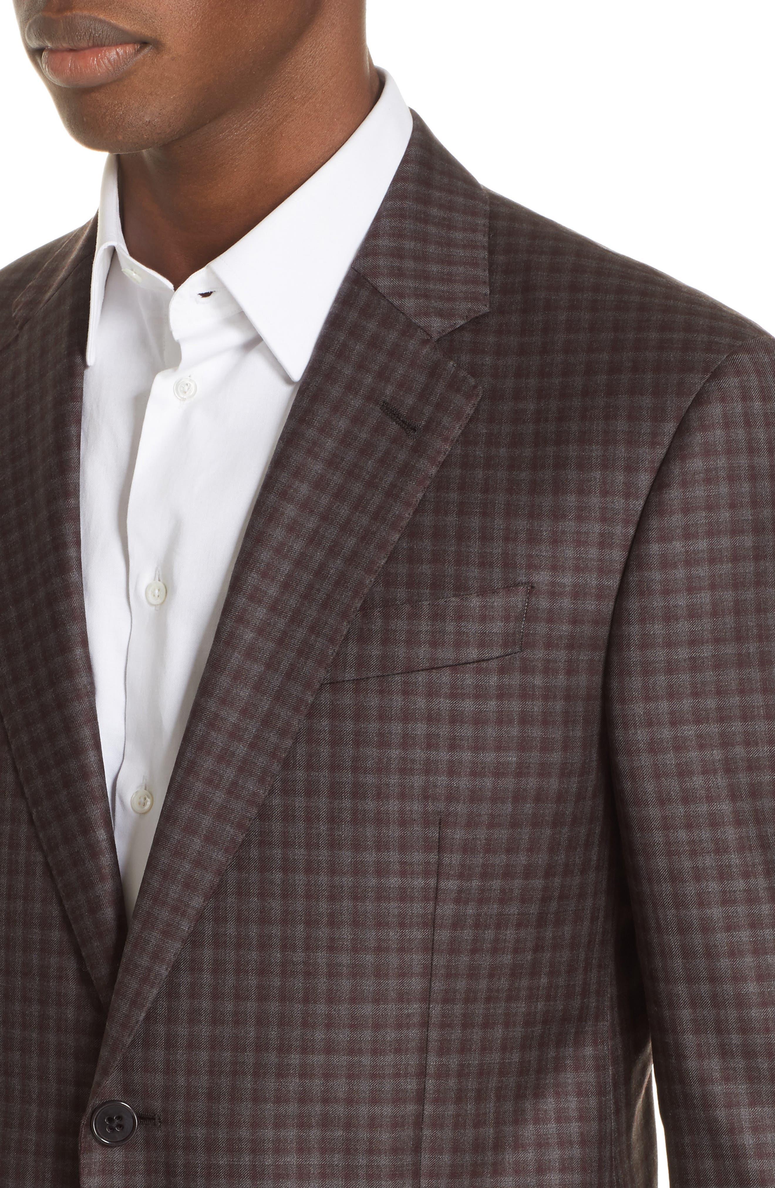 G-Line Trim Fit Plaid Wool Sport Coat,                             Alternate thumbnail 4, color,                             RED/ BROWN