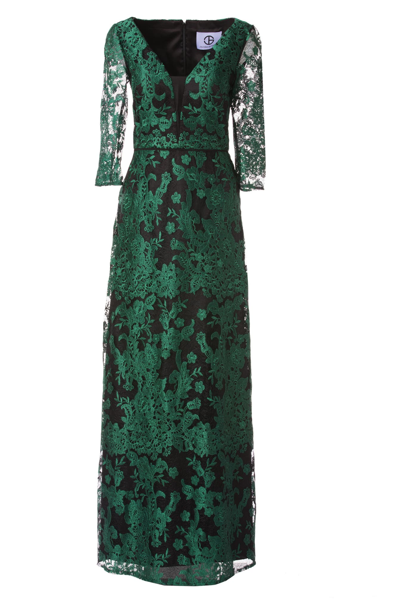 JS Collections Embroidered Lace Gown   Nordstrom