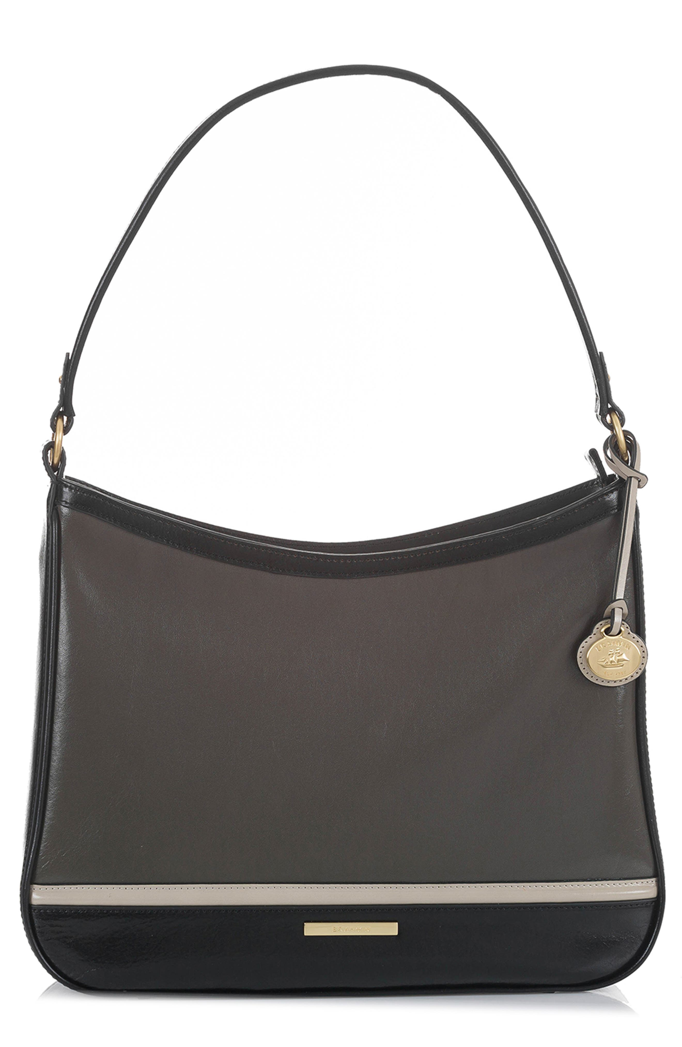 Noelle Smooth Leather Hobo Bag,                         Main,                         color, CHARCOAL