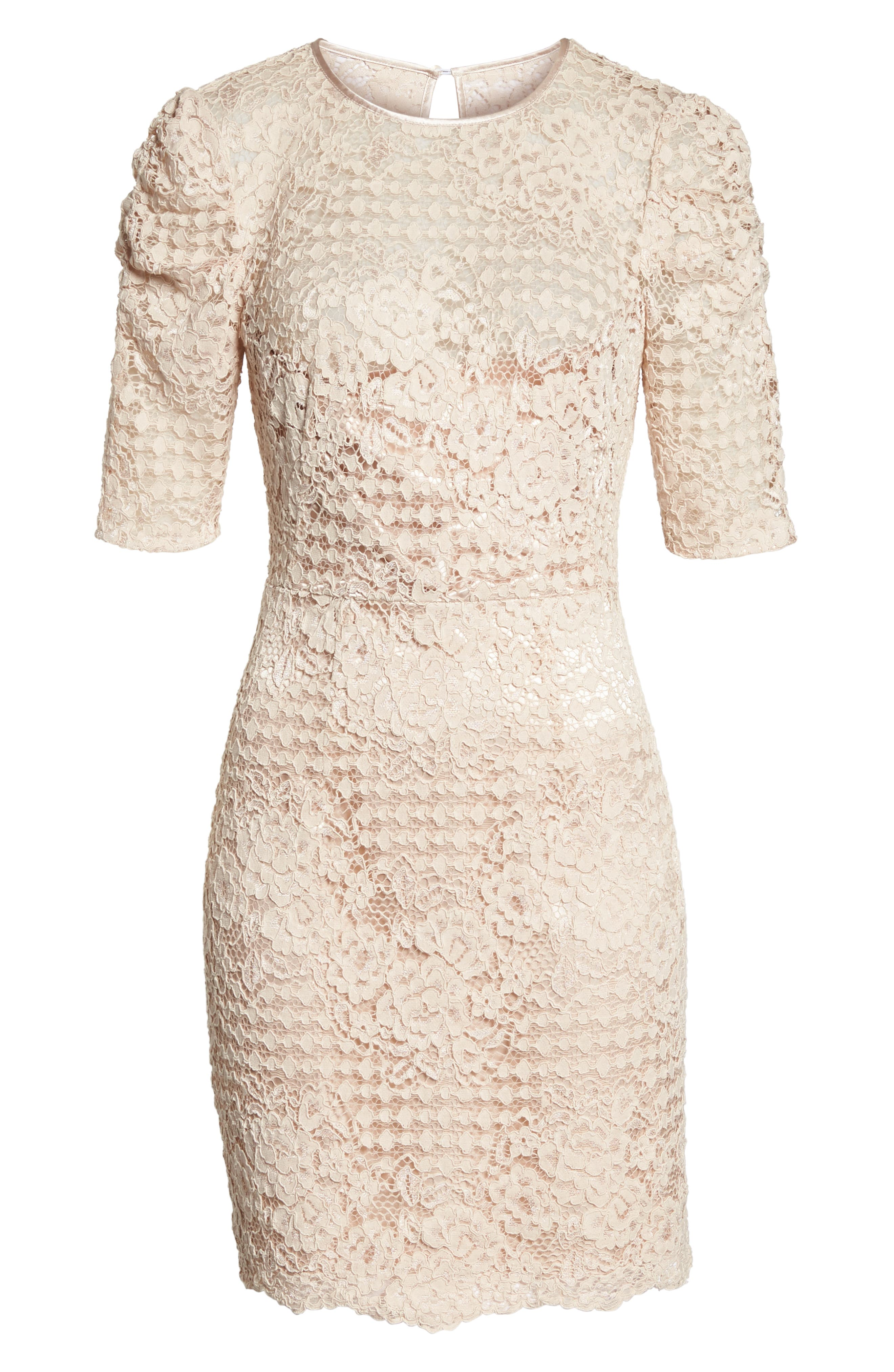 Ruched Sleeve Lace Dress,                             Alternate thumbnail 7, color,                             PINK BLUSH