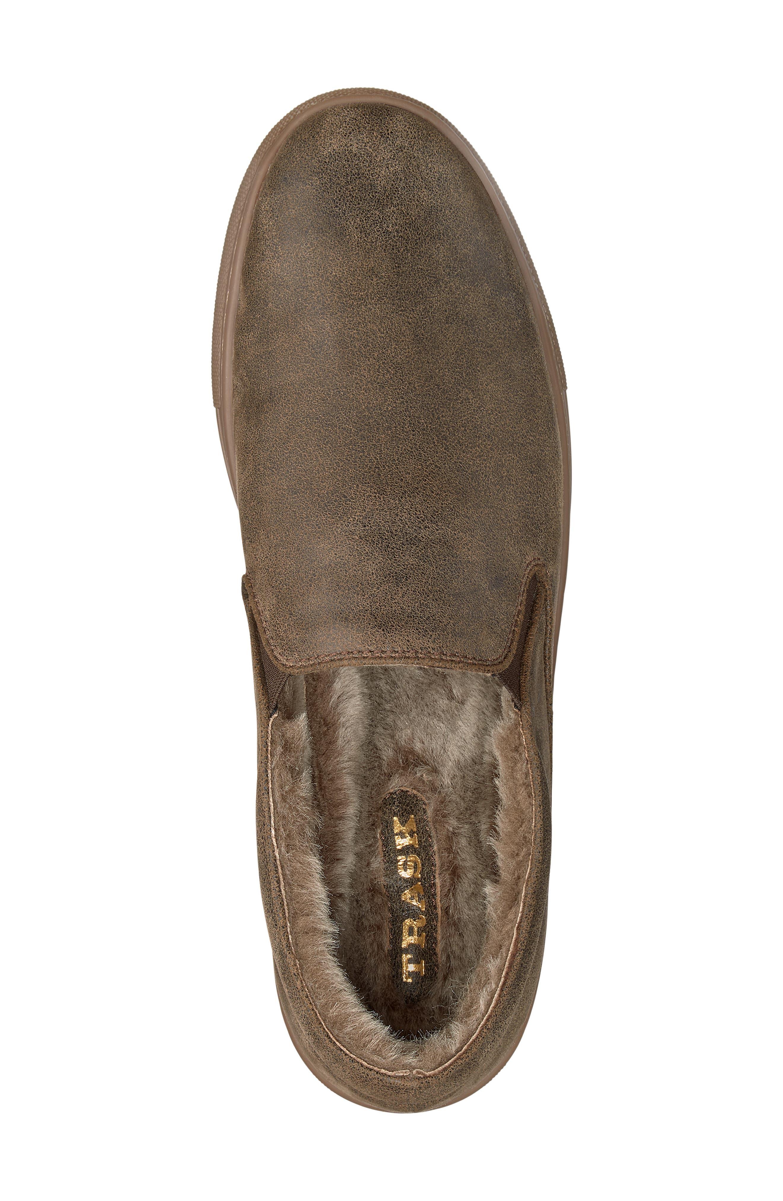 Alex Genuine Shearling Slip-On Sneaker,                             Alternate thumbnail 5, color,                             BROWN SUEDE
