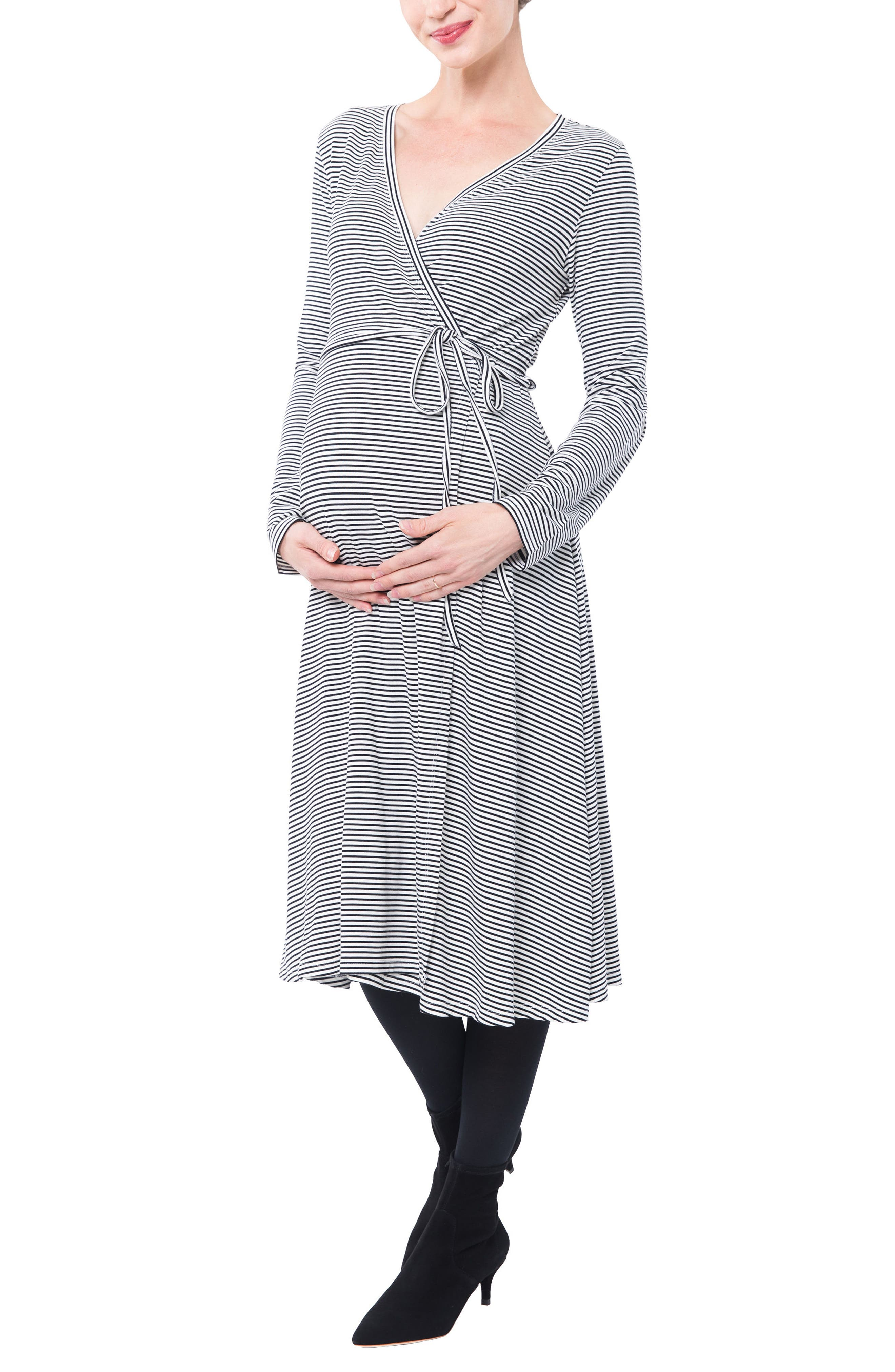 Nom Maternity Tessa Jersey Maternity/nursing Wrap Dress, Black