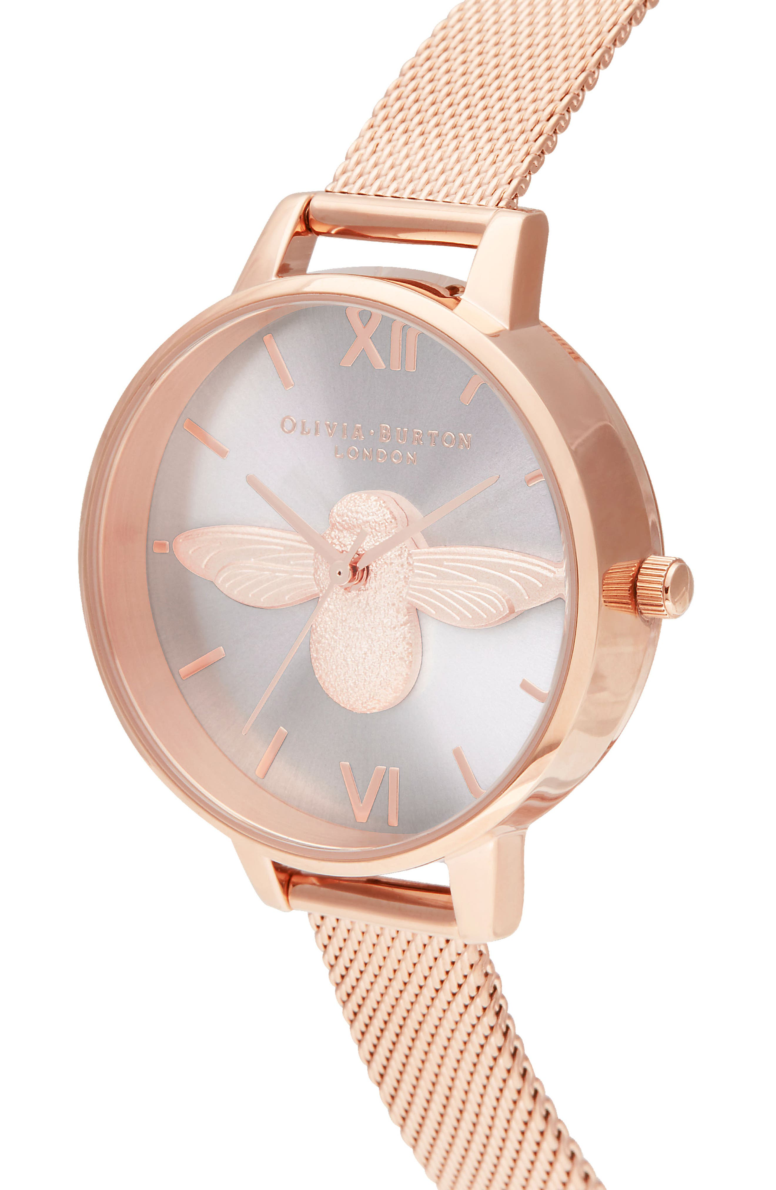 3D Bee Mesh Strap Watch, 34mm,                             Alternate thumbnail 4, color,                             ROSE GOLD/SUNRAY/ ROSE GOLD
