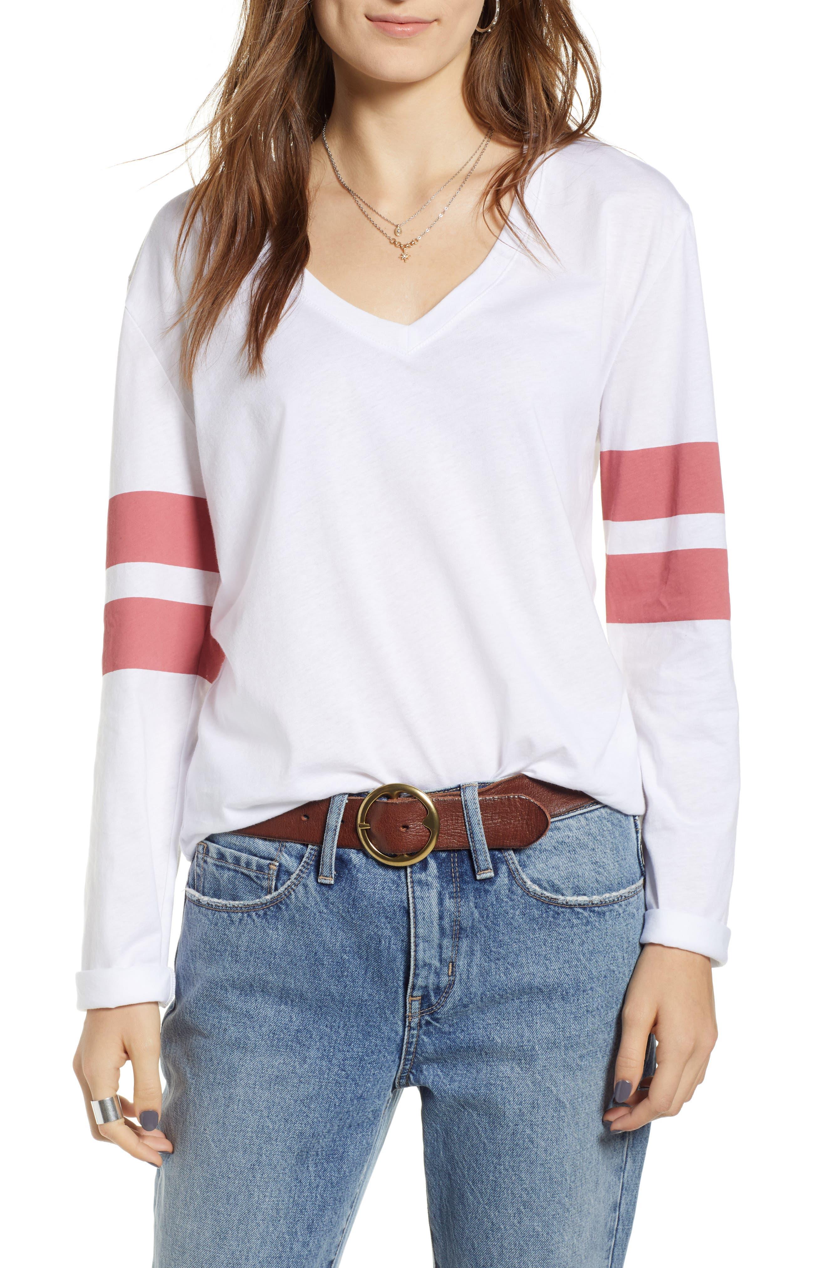 Varsity Stripe Tee,                         Main,                         color, WHITE- RED BAROQUE COMBO