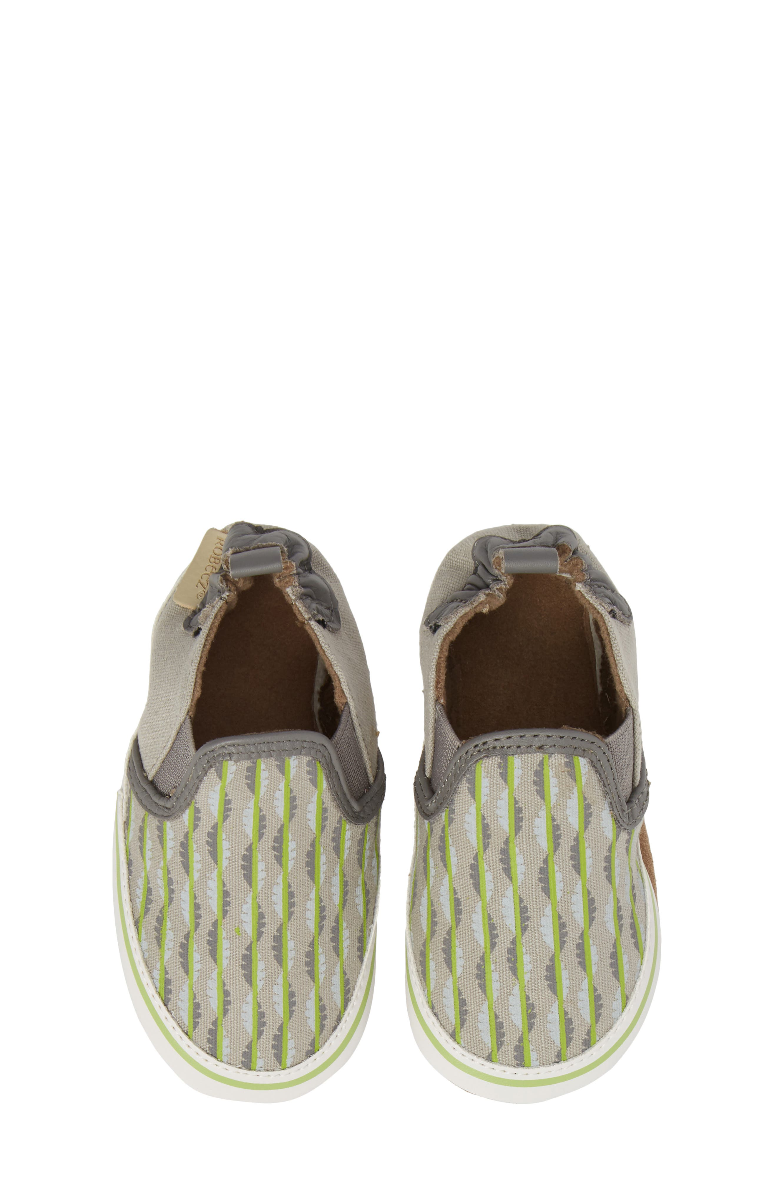 Liam Tropical Print Crib Shoe,                             Alternate thumbnail 5, color,                             GREY
