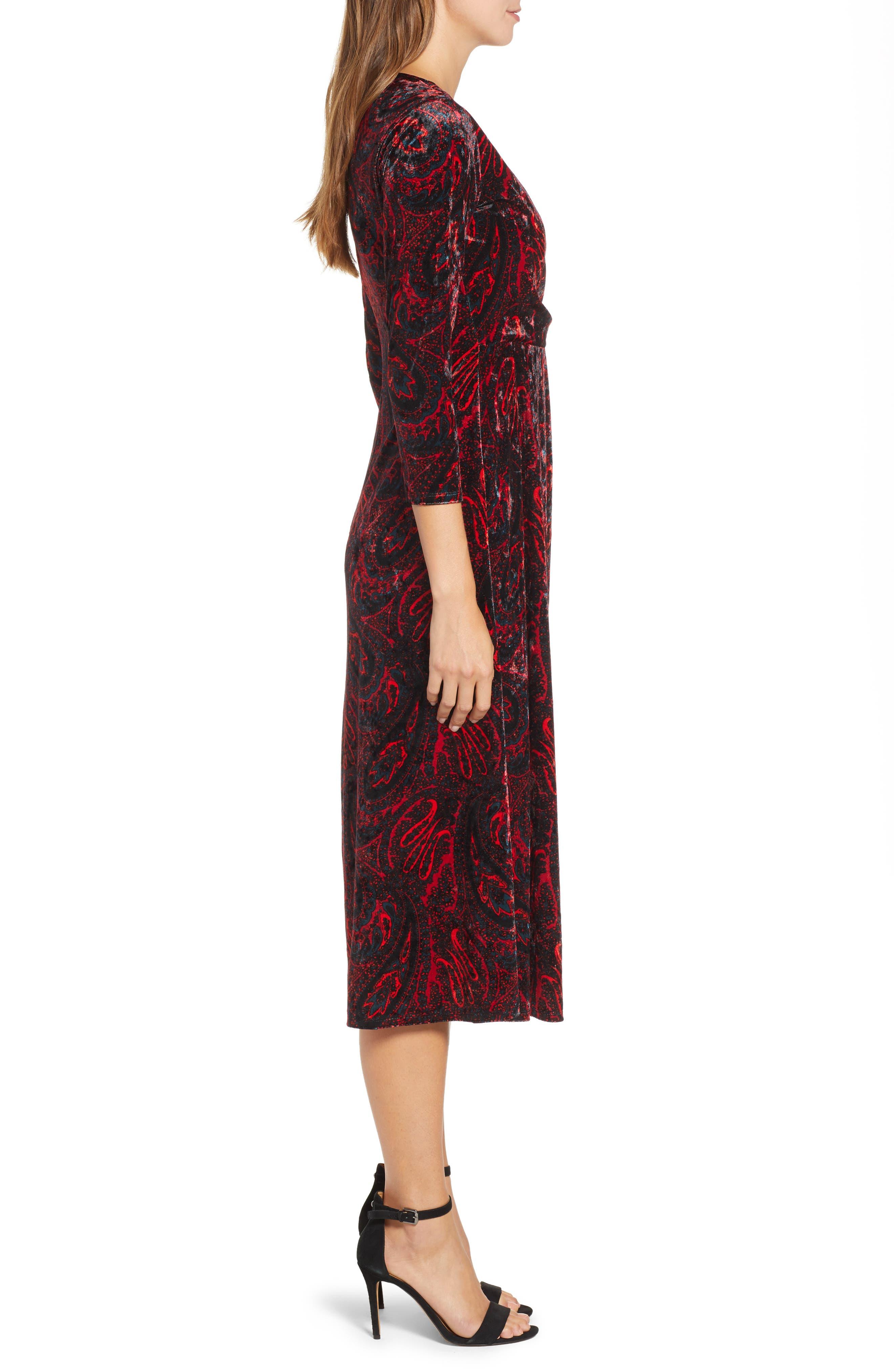 CHAUS,                             Paisley Velvet Faux Wrap Dress,                             Alternate thumbnail 4, color,                             RICH BLACK