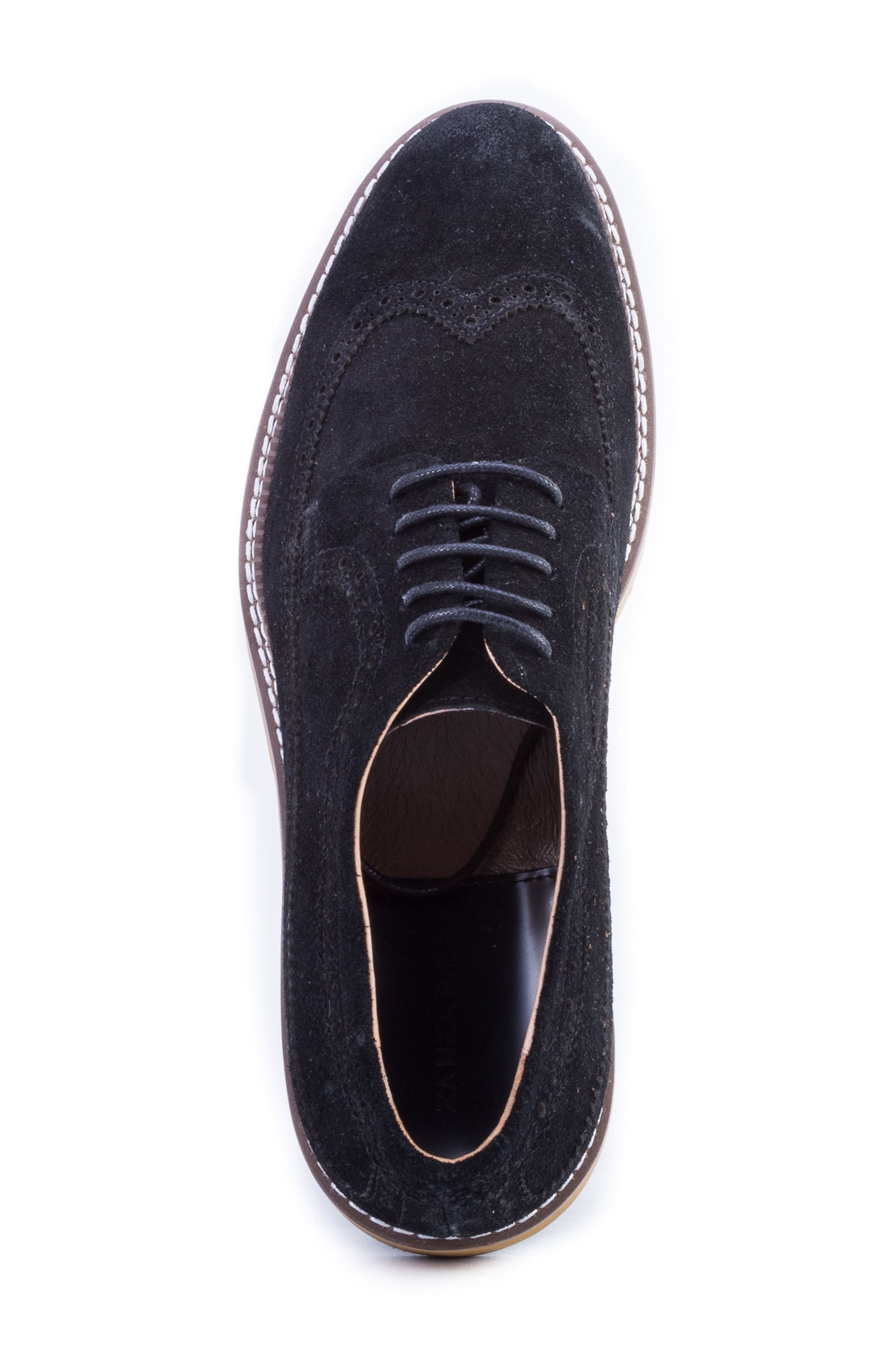 Modigliani Wingtip Derby,                             Alternate thumbnail 5, color,                             BLACK SUEDE