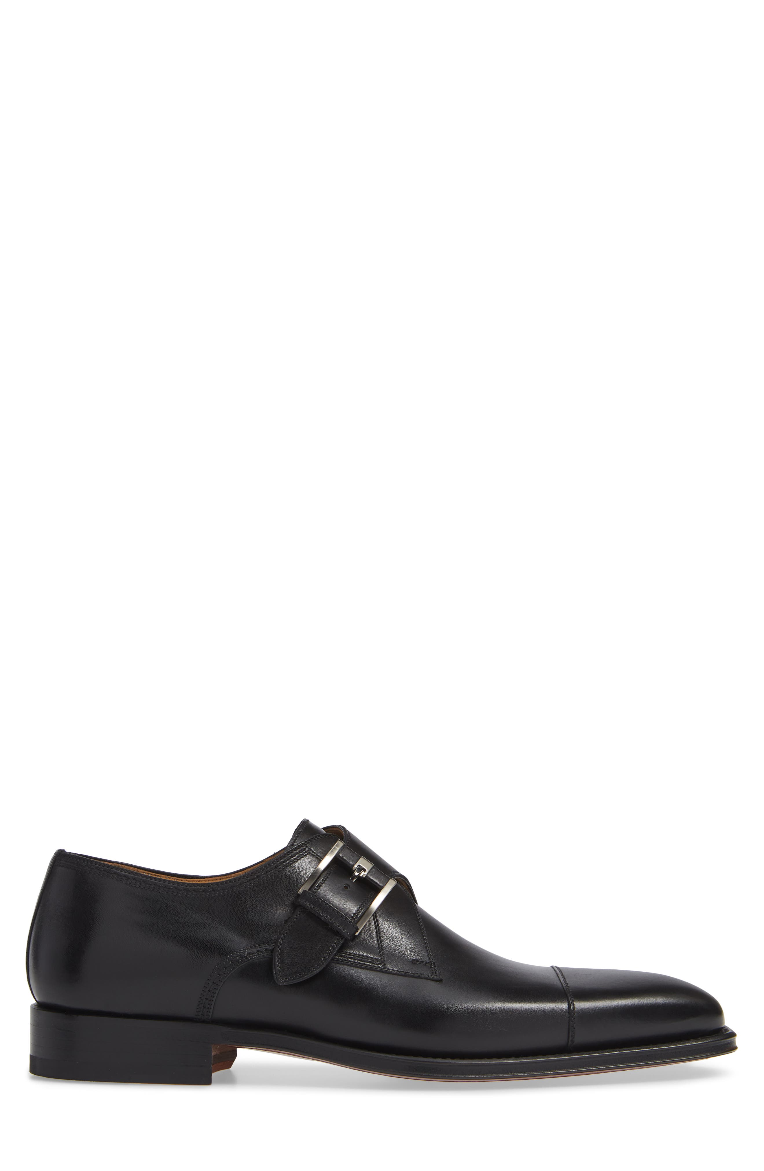 Lennon Monk Strap Shoe,                             Alternate thumbnail 3, color,                             BLACK LEATHER