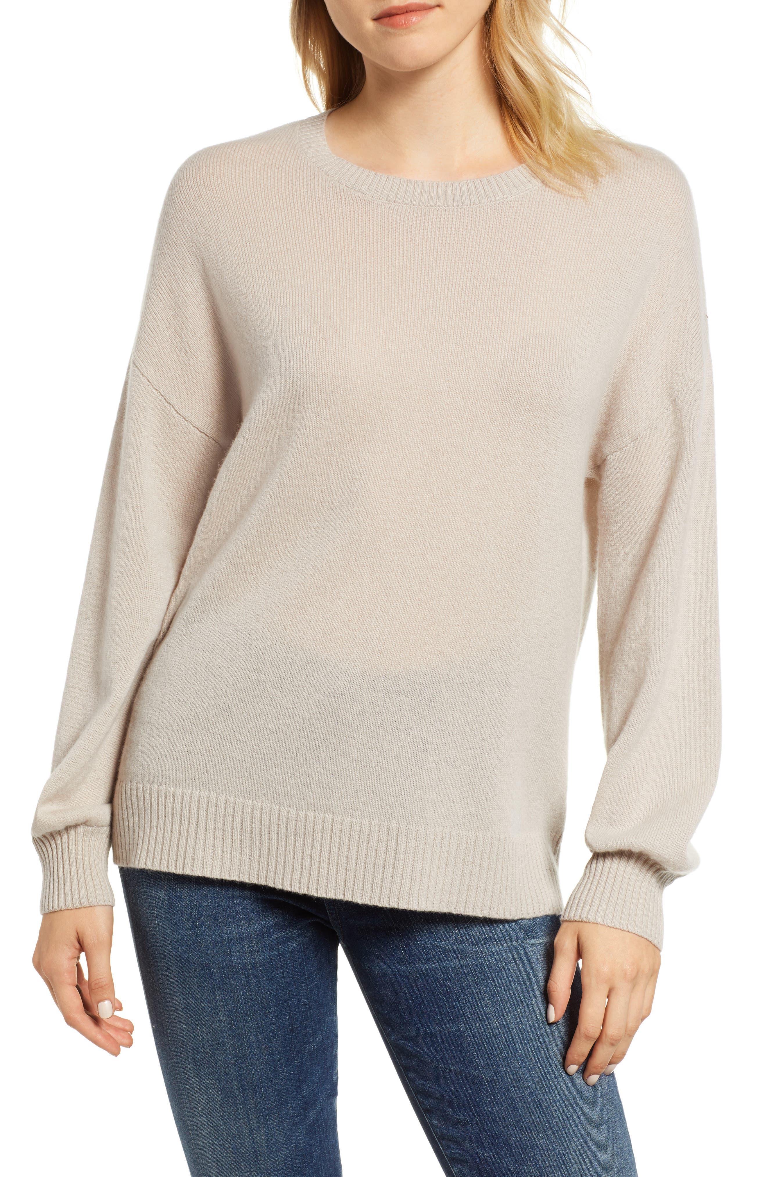 Blouson Sleeve Cashmere Sweater,                             Main thumbnail 1, color,                             MUSHROOM
