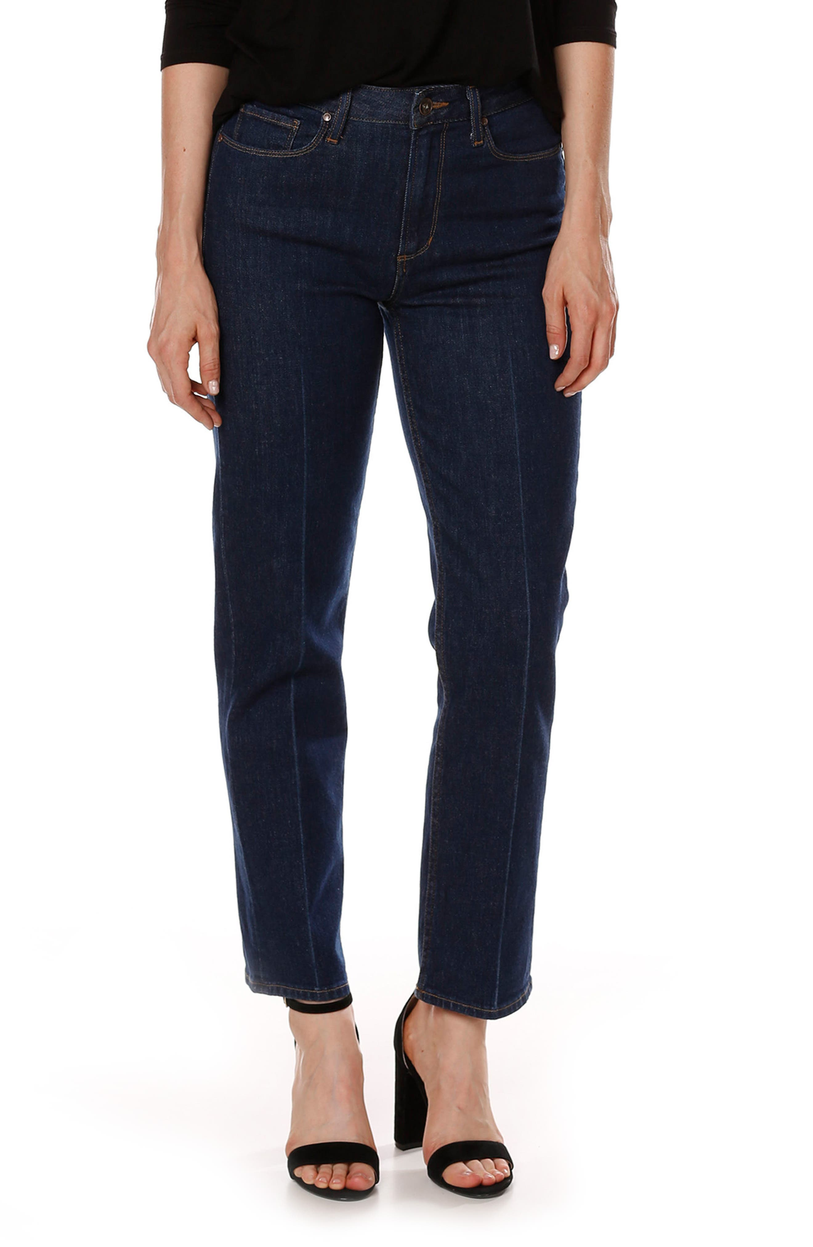 Sarah High Waist Ankle Straight Leg Jeans,                             Main thumbnail 1, color,                             400
