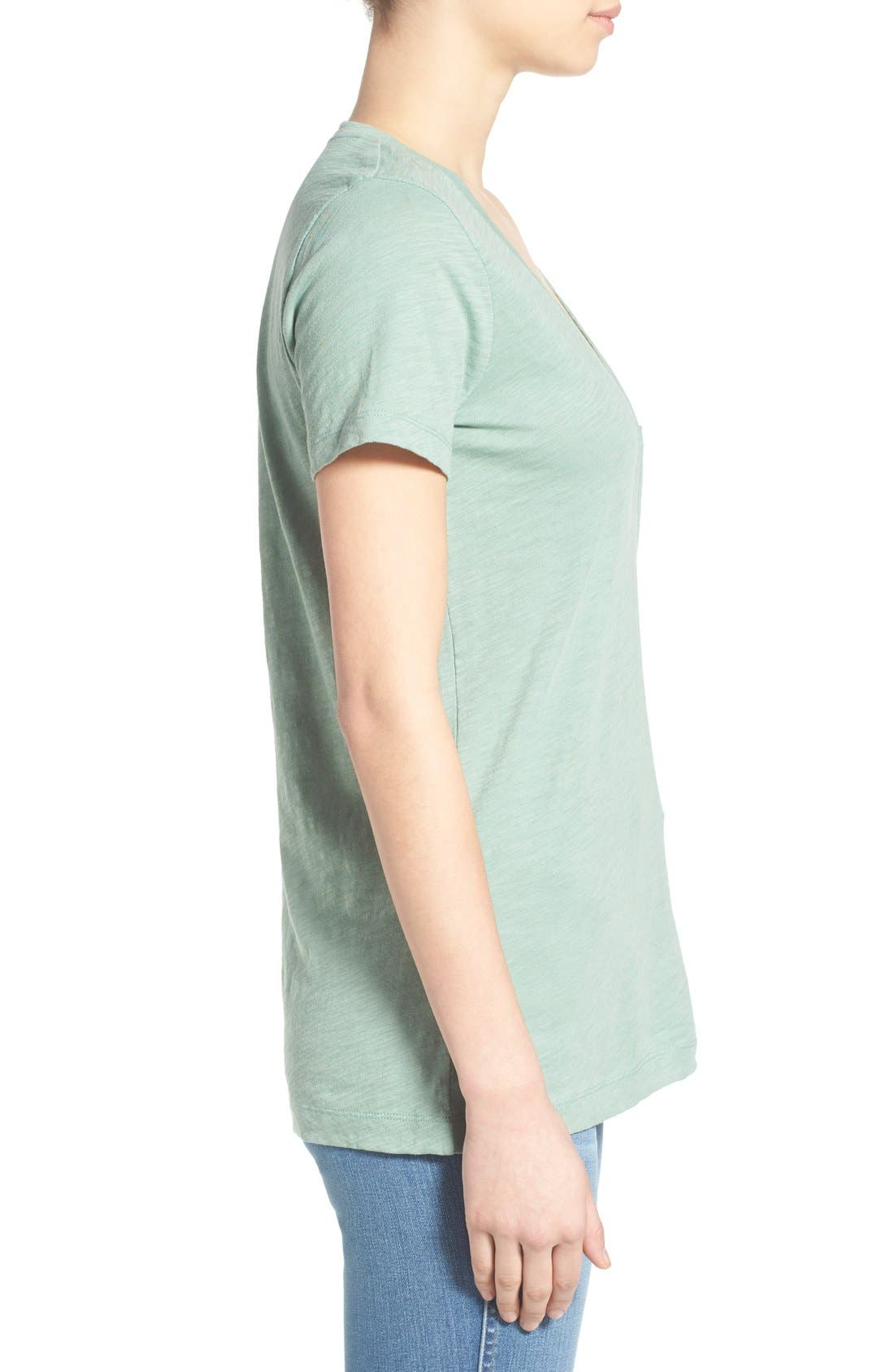 Whisper Cotton V-Neck Pocket Tee,                             Alternate thumbnail 104, color,