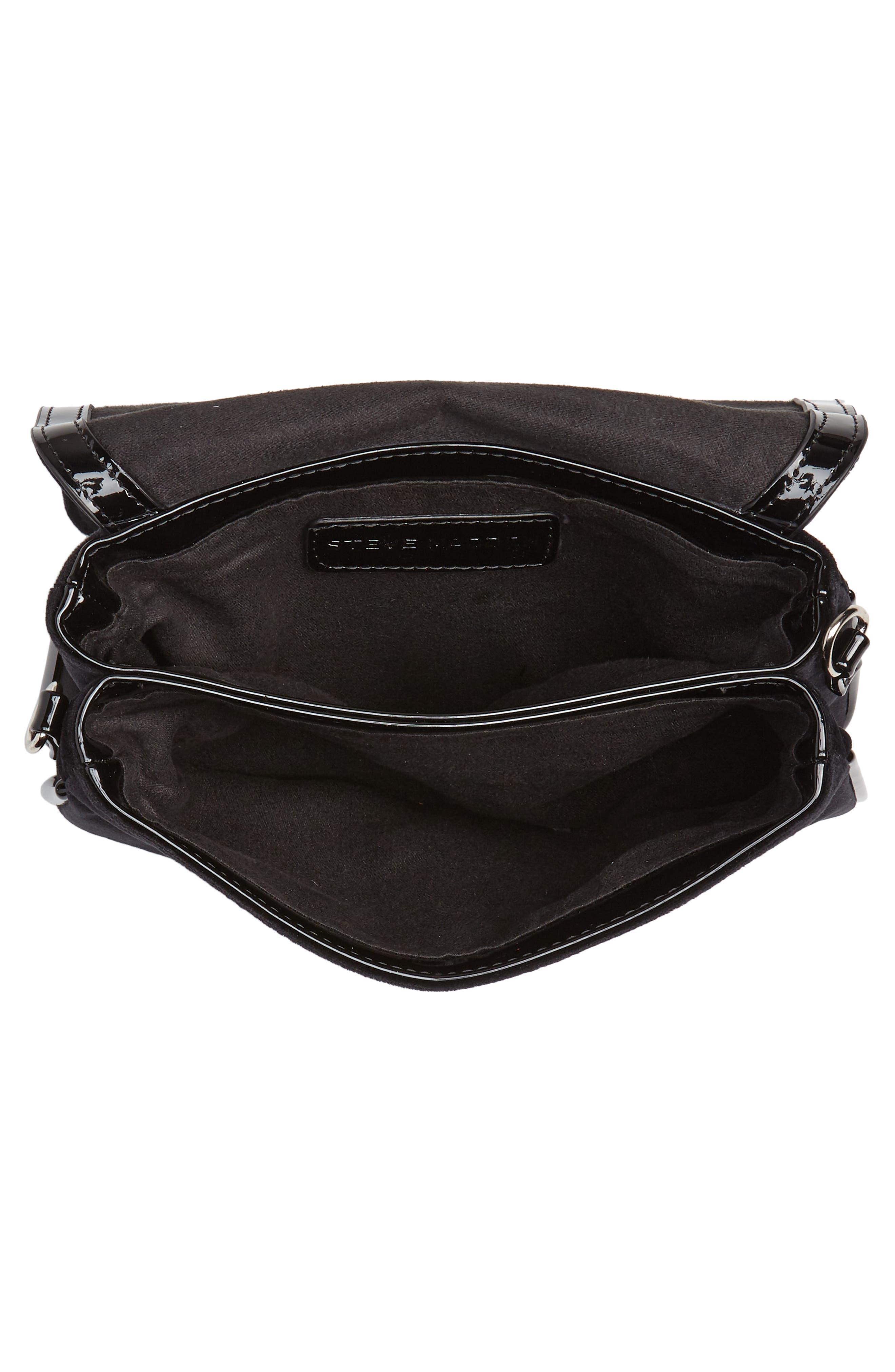 Velvet Crossbody Bag,                             Alternate thumbnail 4, color,                             BLACK