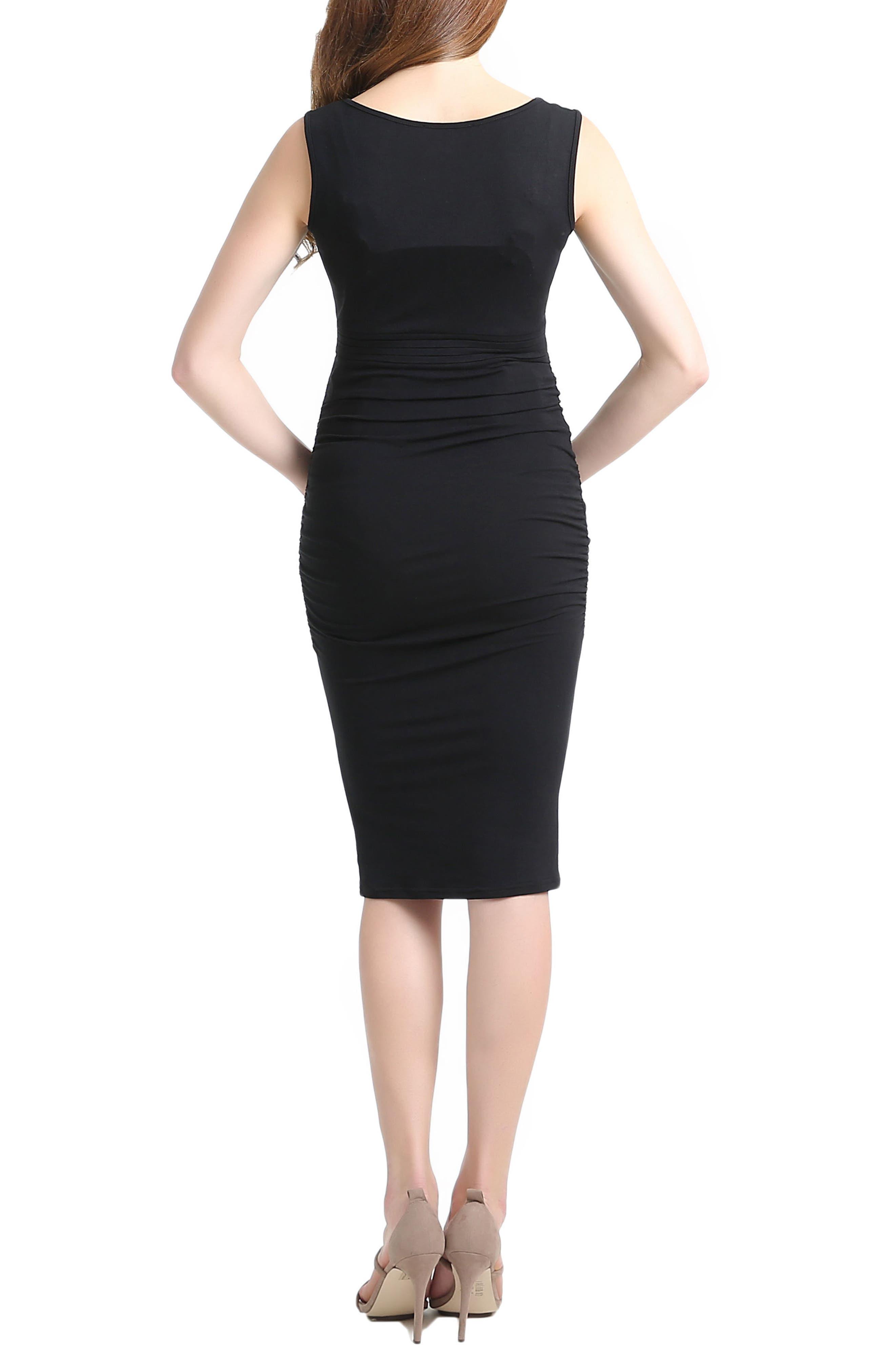 Niki Ruched Maternity Dress,                             Alternate thumbnail 2, color,                             BLACK
