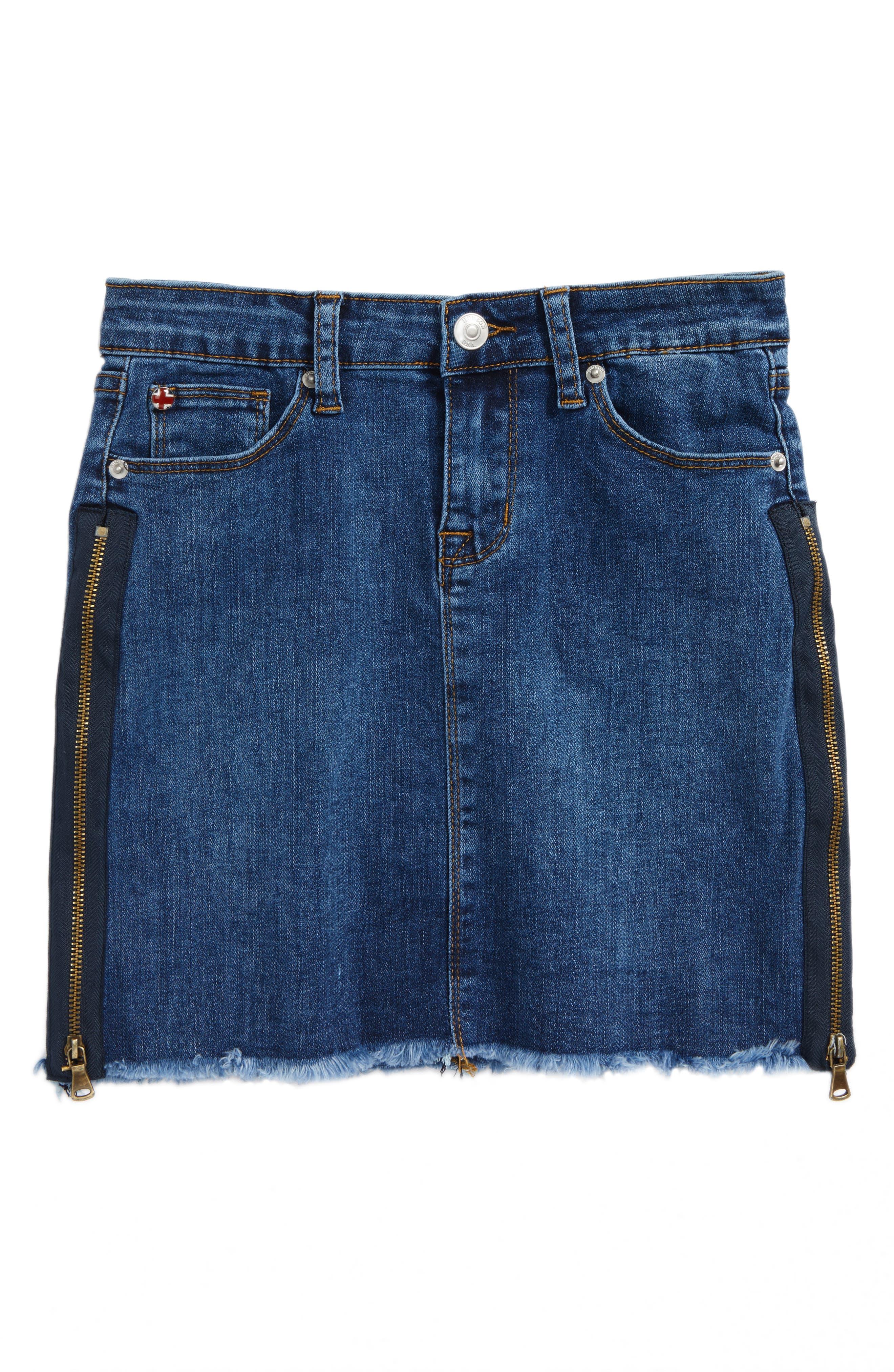 Olivia Frayed Hem Denim Skirt,                             Main thumbnail 1, color,