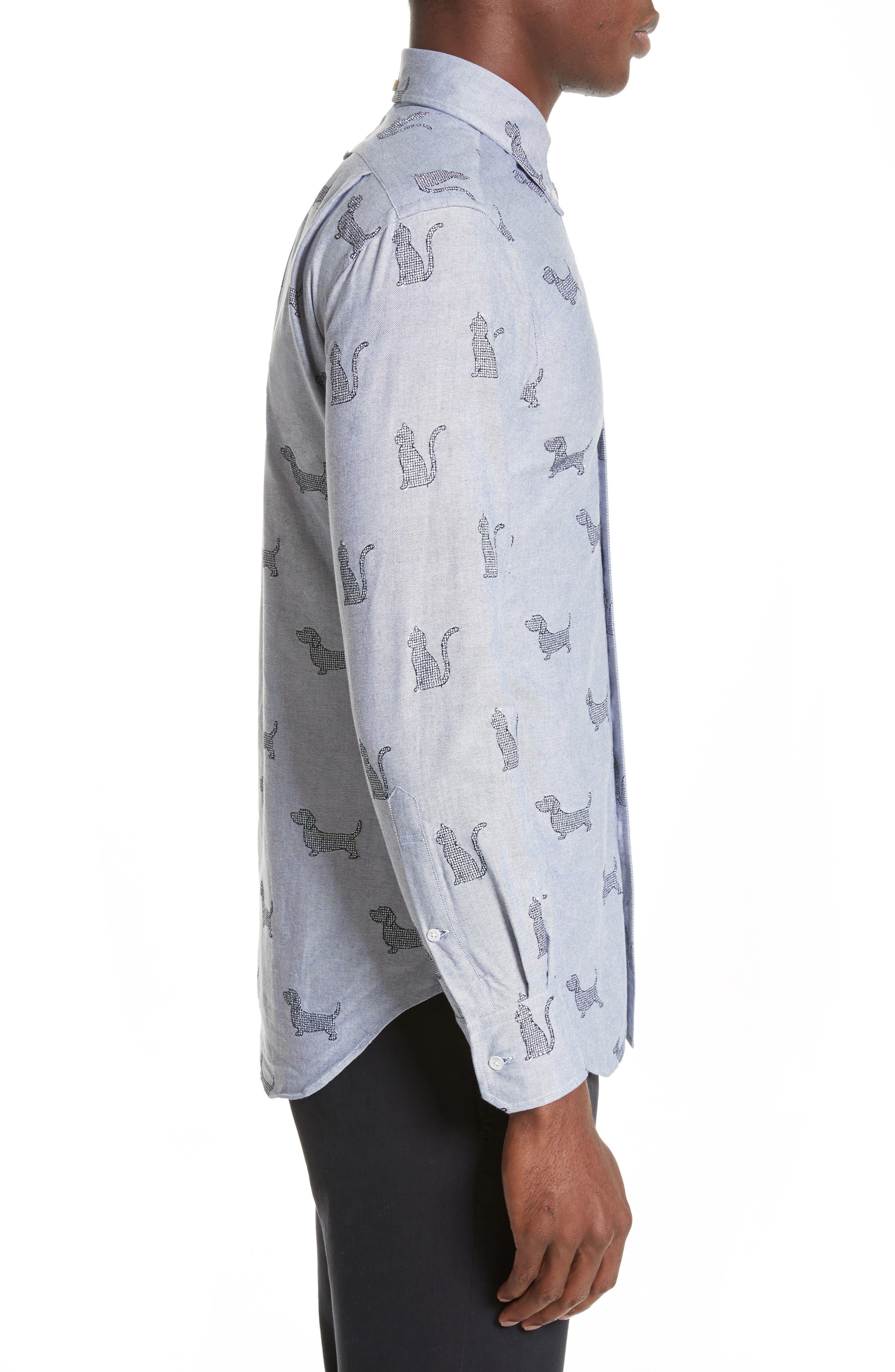 Daschund Kitty Print Shirt,                             Alternate thumbnail 3, color,                             415