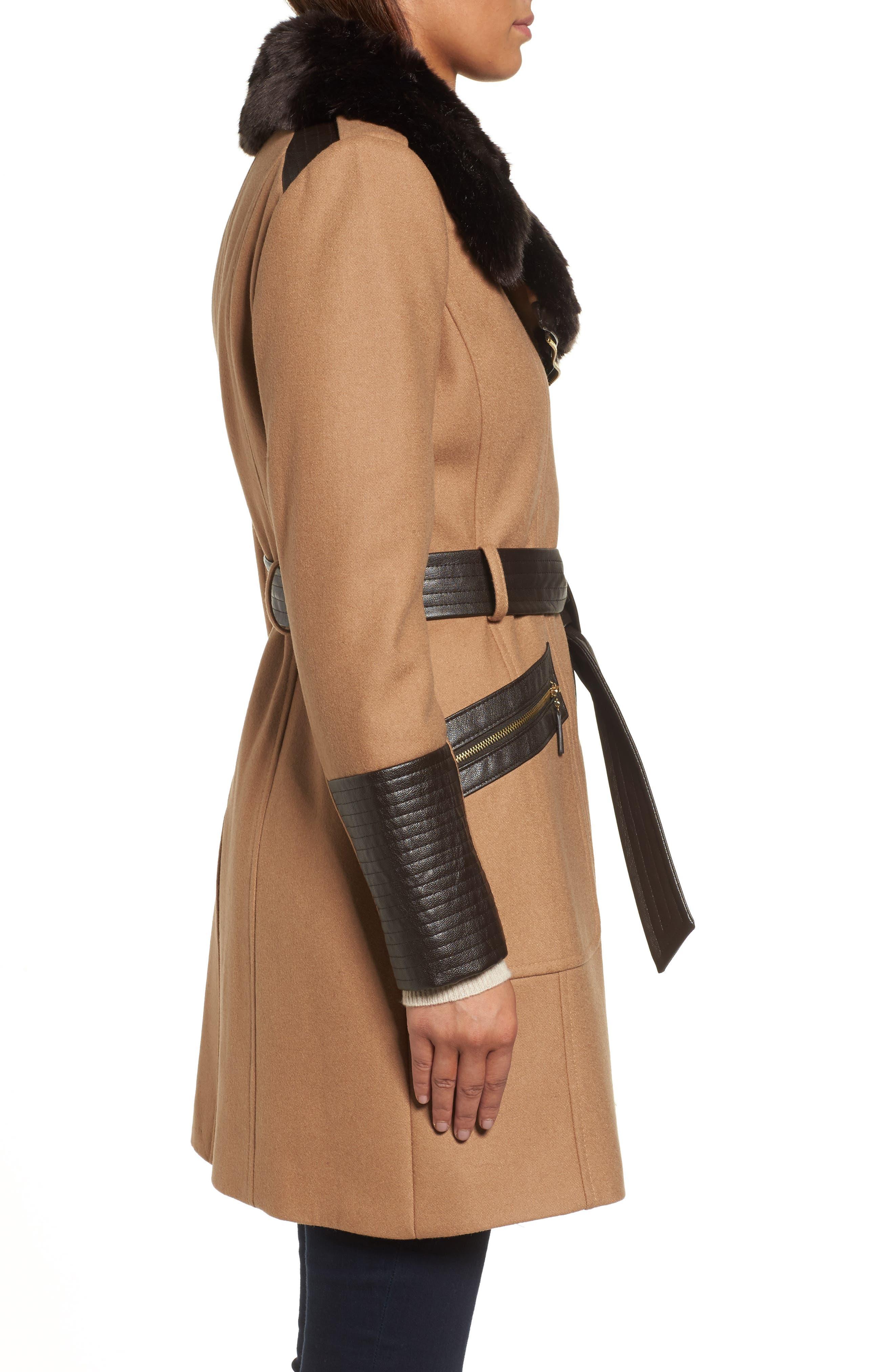 Faux Leather & Faux Fur Trim Belted Wool Blend Coat,                             Alternate thumbnail 18, color,