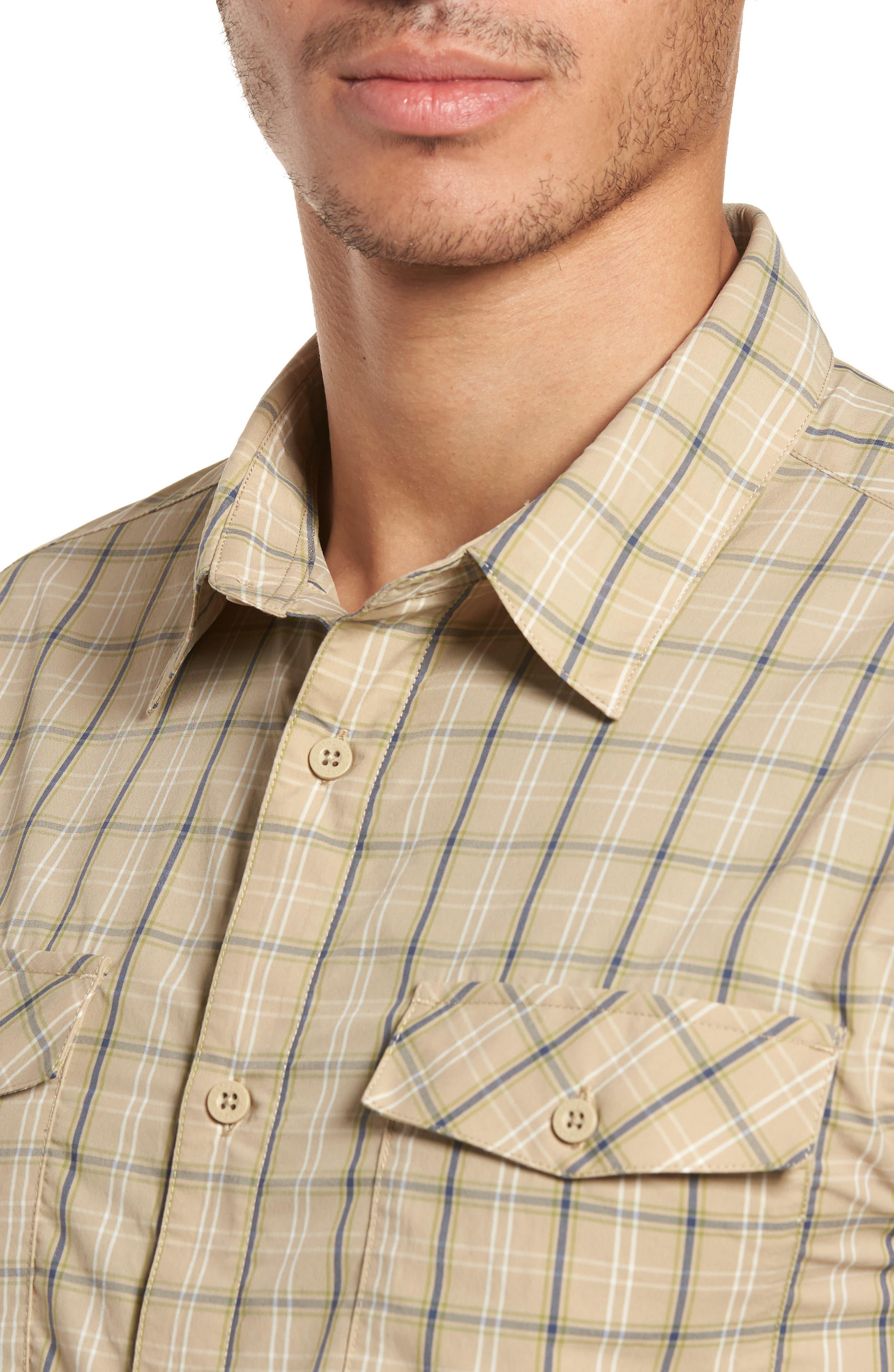 M's High Moss Plaid Sport Shirt,                             Alternate thumbnail 4, color,                             EL CAP KHAKI