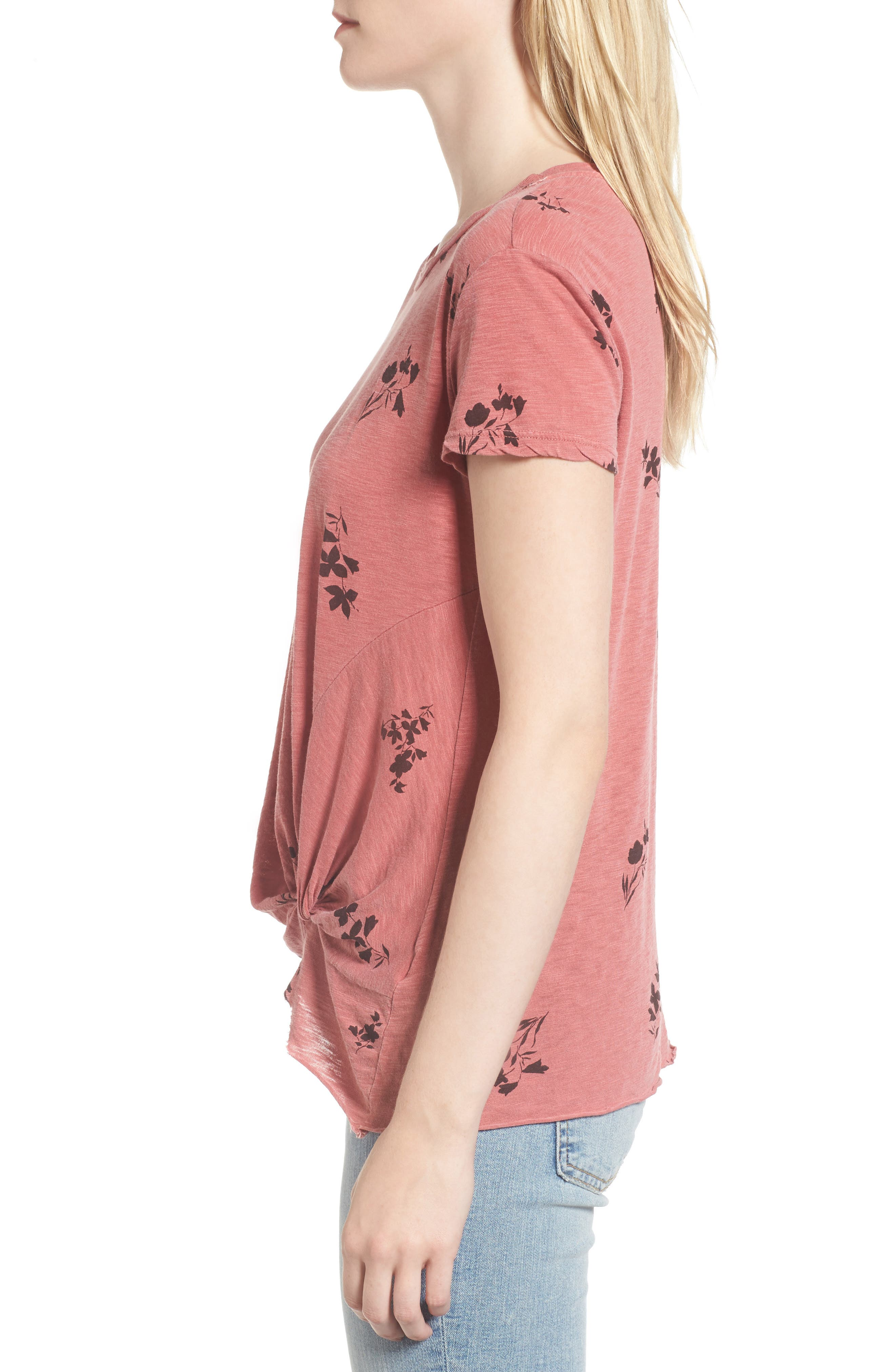 Wine Floral Twist Front Tee,                             Alternate thumbnail 3, color,